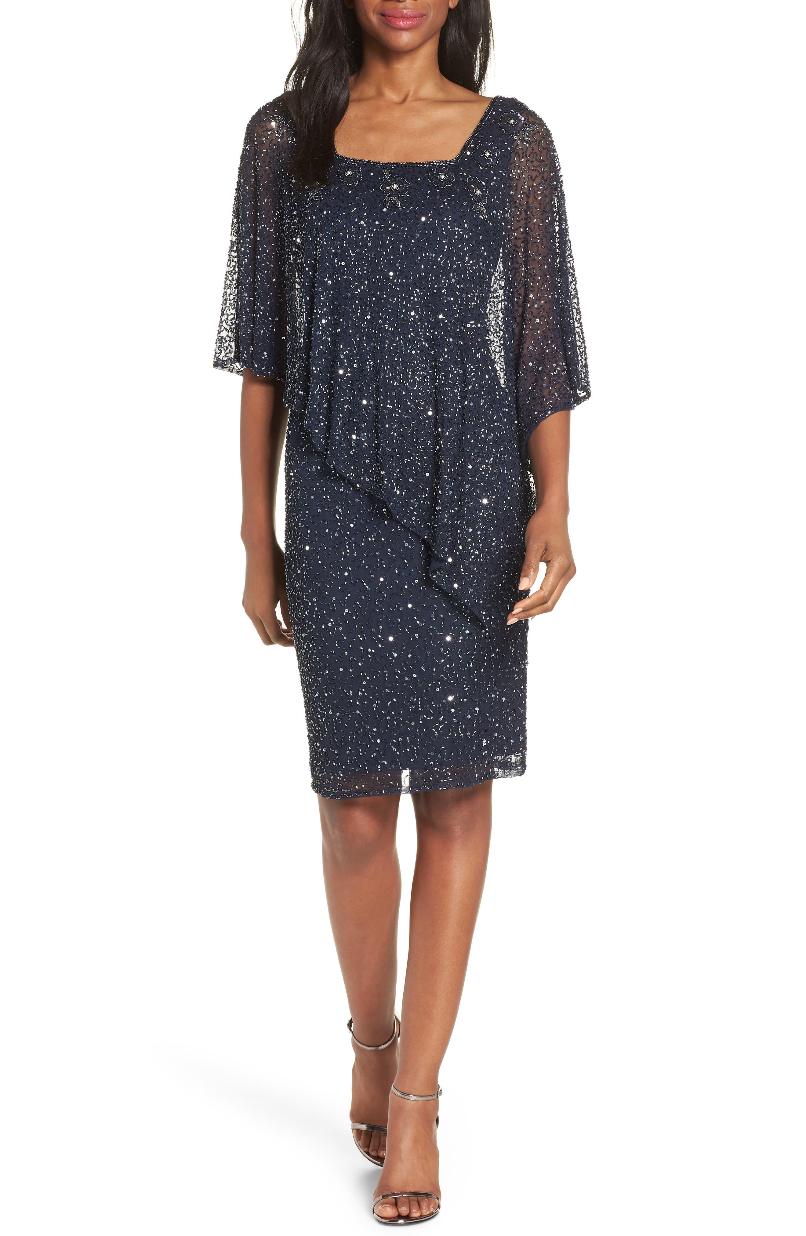 PISARRO NIGHTS Beaded Cape Dress, Main, color, NAVY