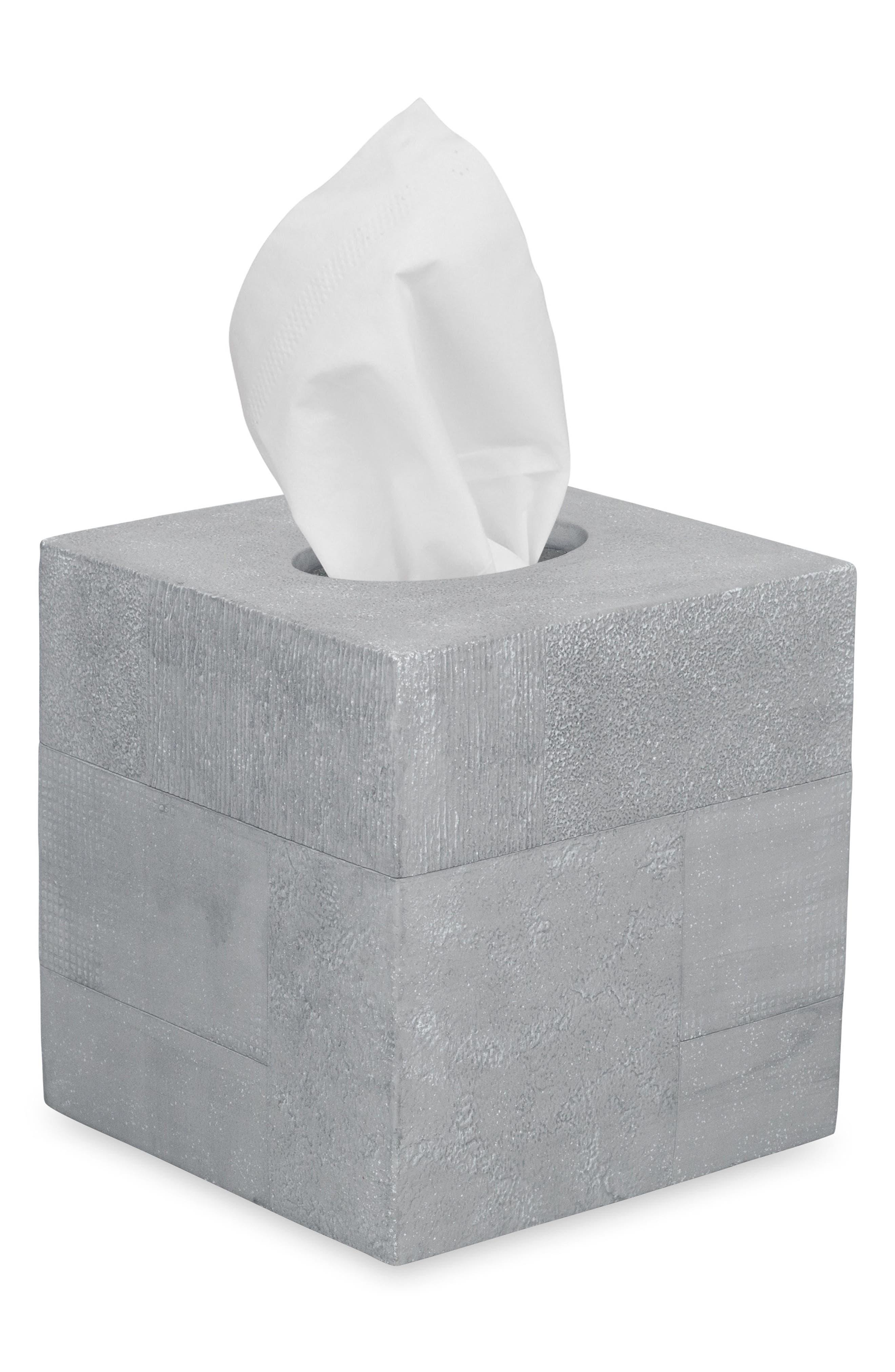 DKNY Cornerstone Tissue Box Cover, Main, color, GREY