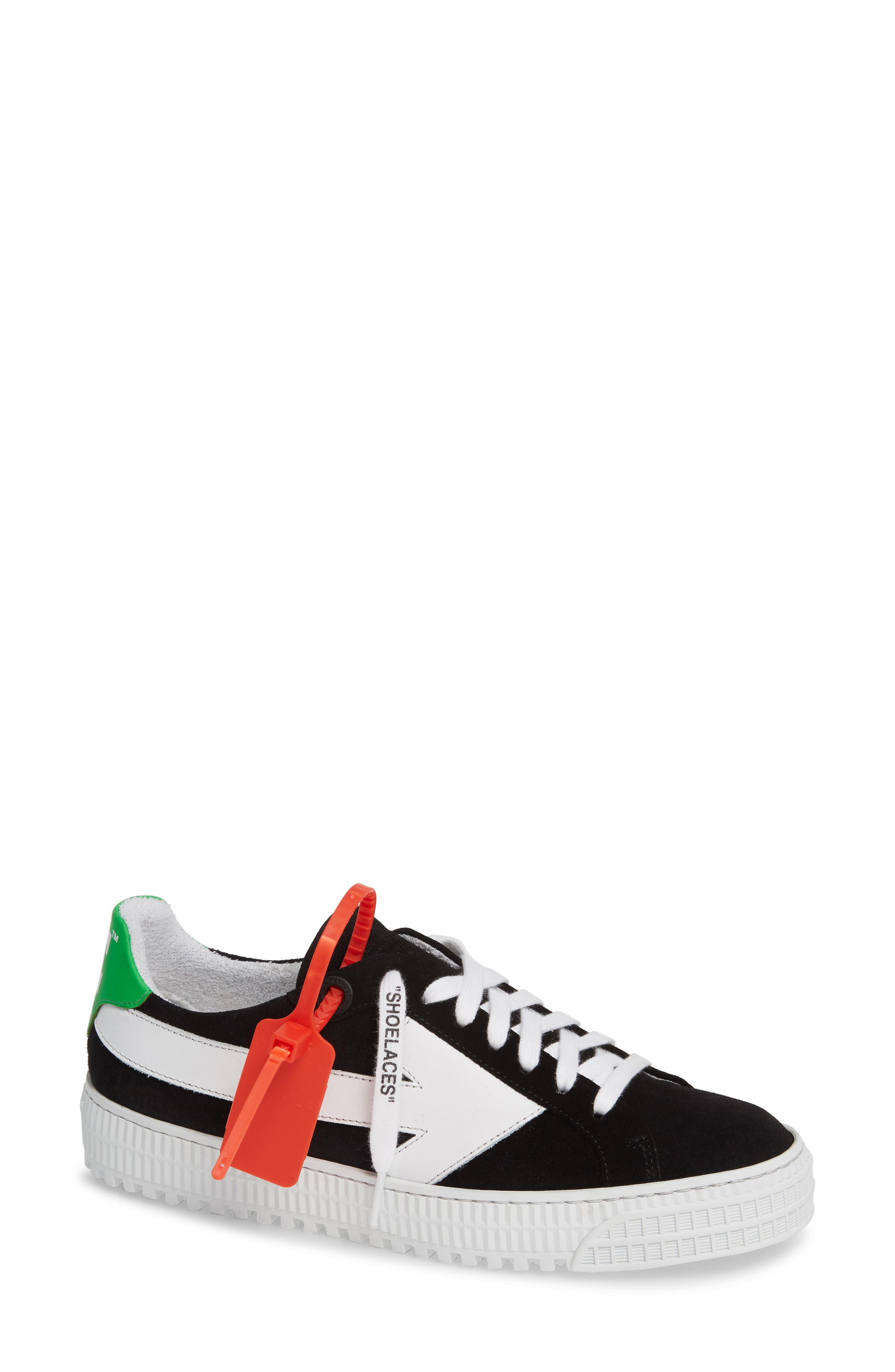 OFF-WHITE Arrow Sneaker, Main, color, BLACK WHITE