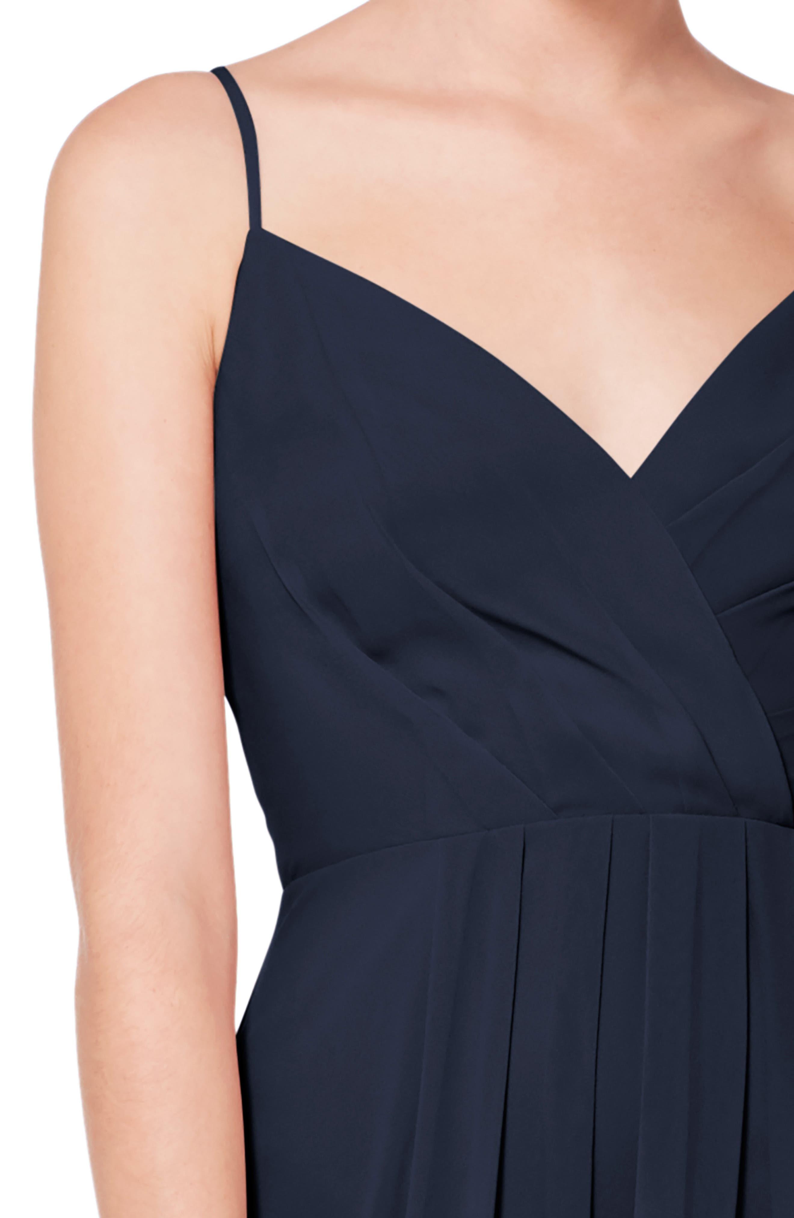 #LEVKOFF, Surplice Neck Chiffon Evening Dress, Alternate thumbnail 3, color, NAVY