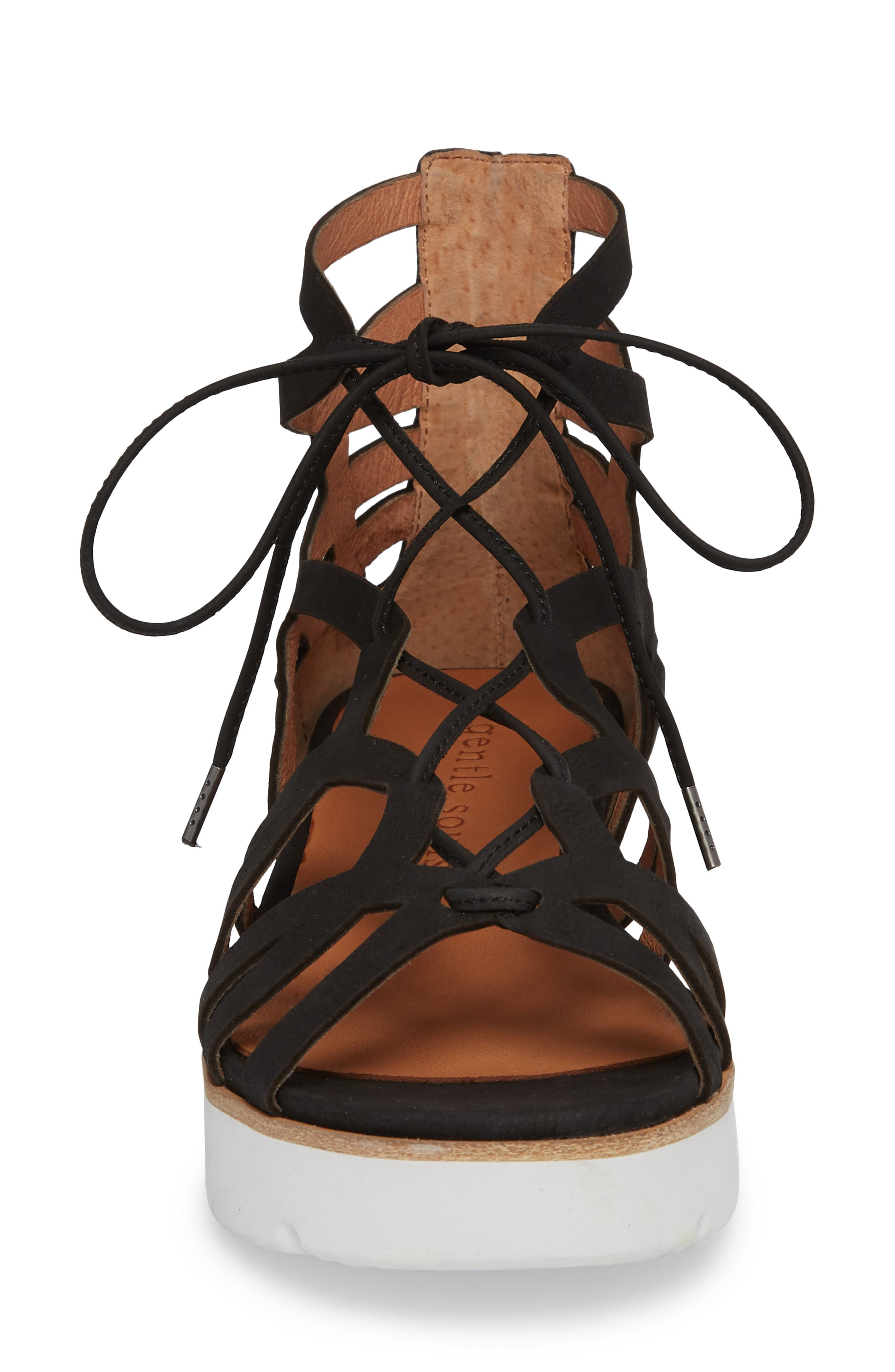 GENTLE SOULS BY KENNETH COLE, Larina Lace-Up Sandal, Alternate thumbnail 4, color, BLACK NUBUCK