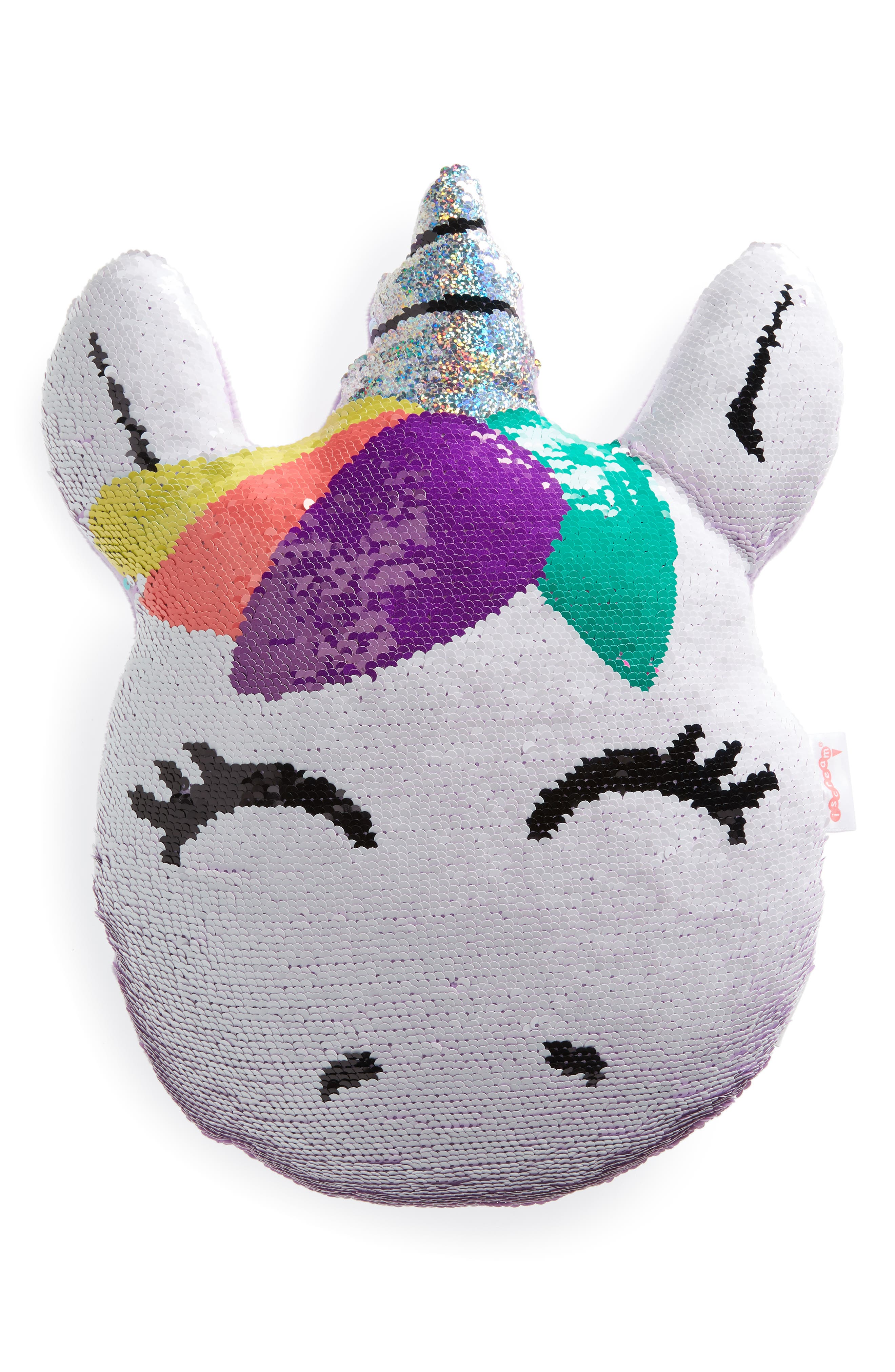 ISCREAM, Unicorn Reversible Sequin Pillow, Main thumbnail 1, color, 650