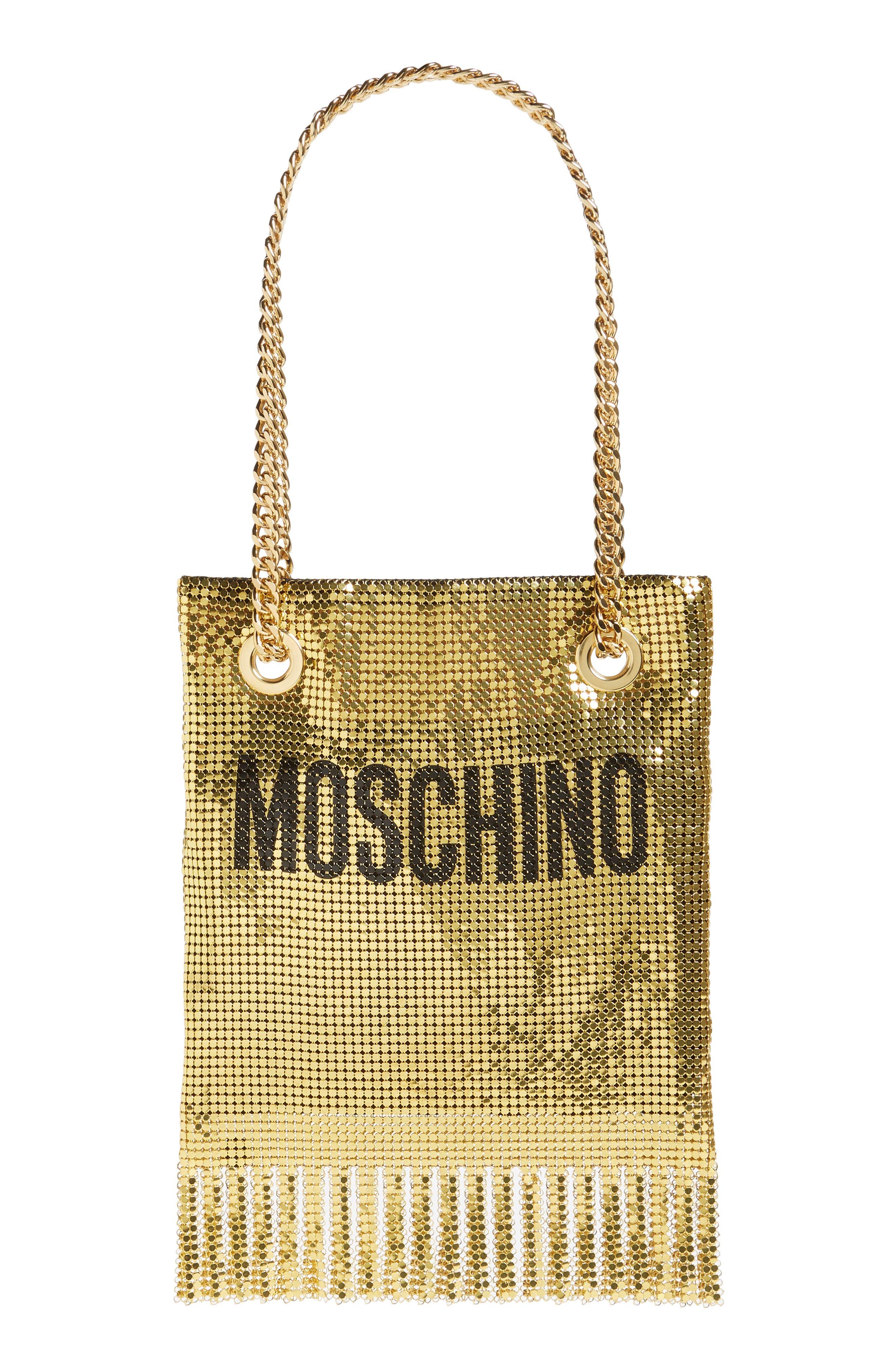MOSCHINO, Logo Metallic Mesh Fringe Bag, Main thumbnail 1, color, GOLD