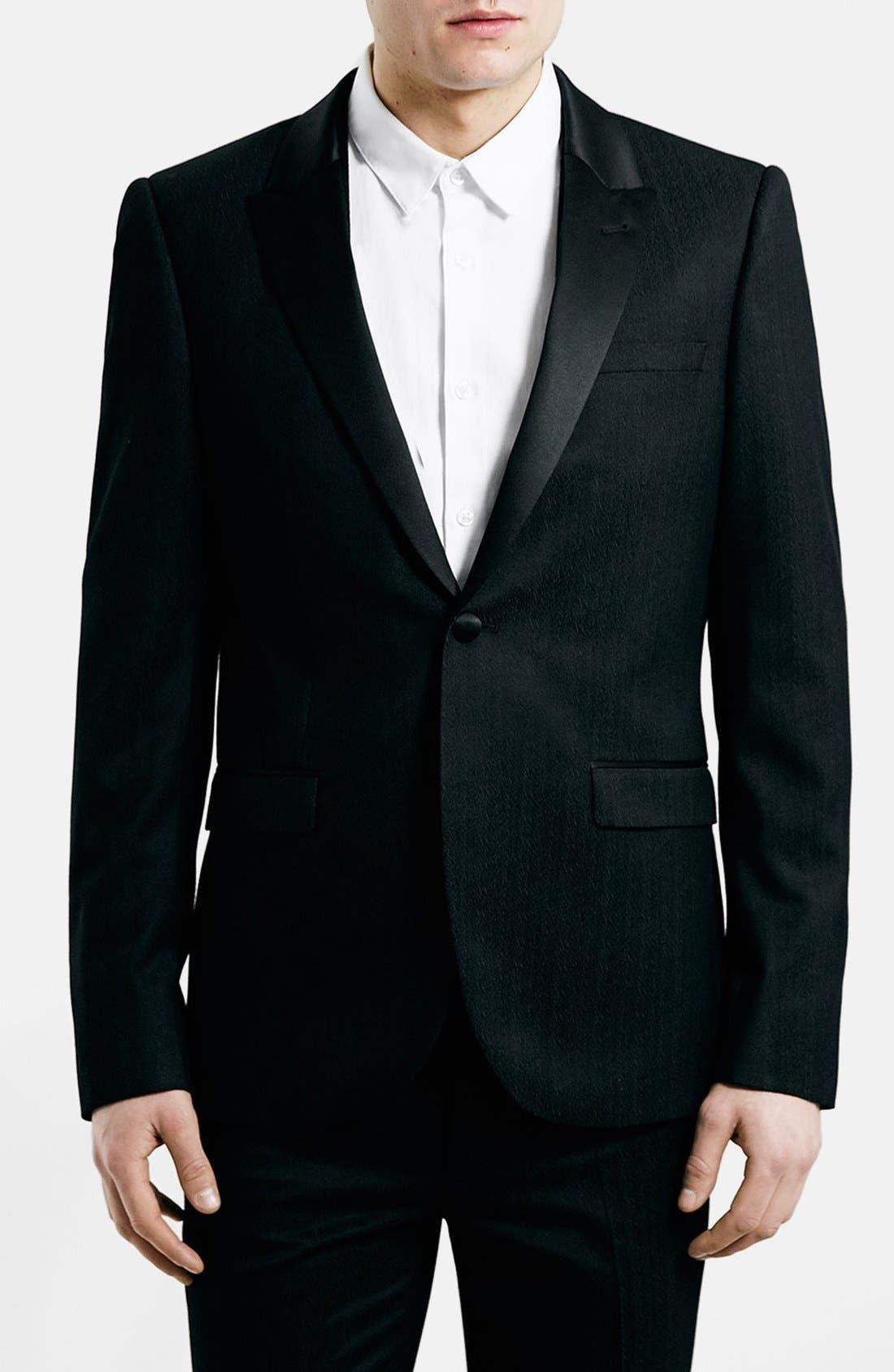 TOPMAN, Black Textured Skinny Fit Tuxedo Jacket, Main thumbnail 1, color, 001