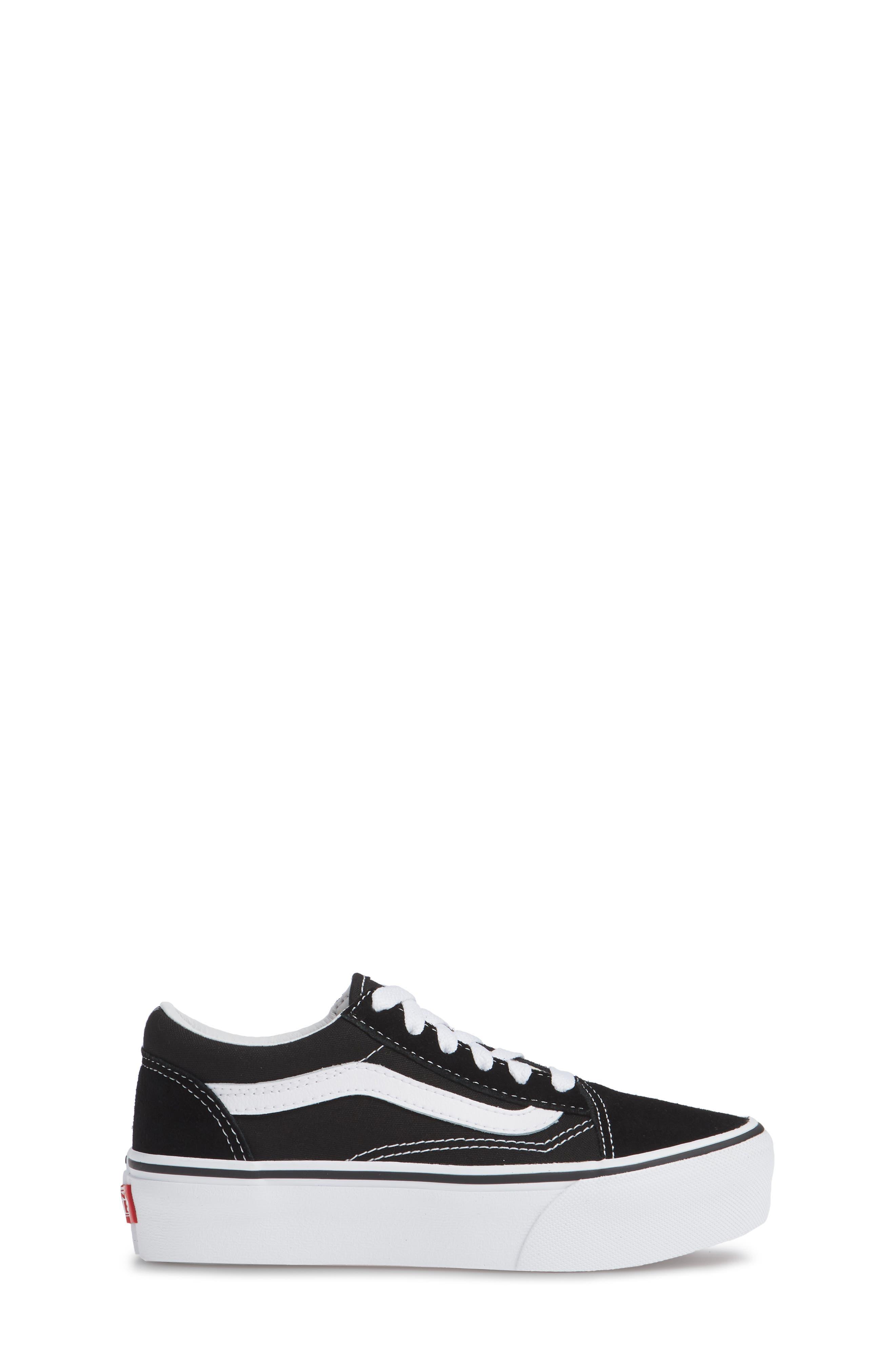 VANS, Old Skool Platform Sneaker, Alternate thumbnail 3, color, BLACK/ TRUE WHITE