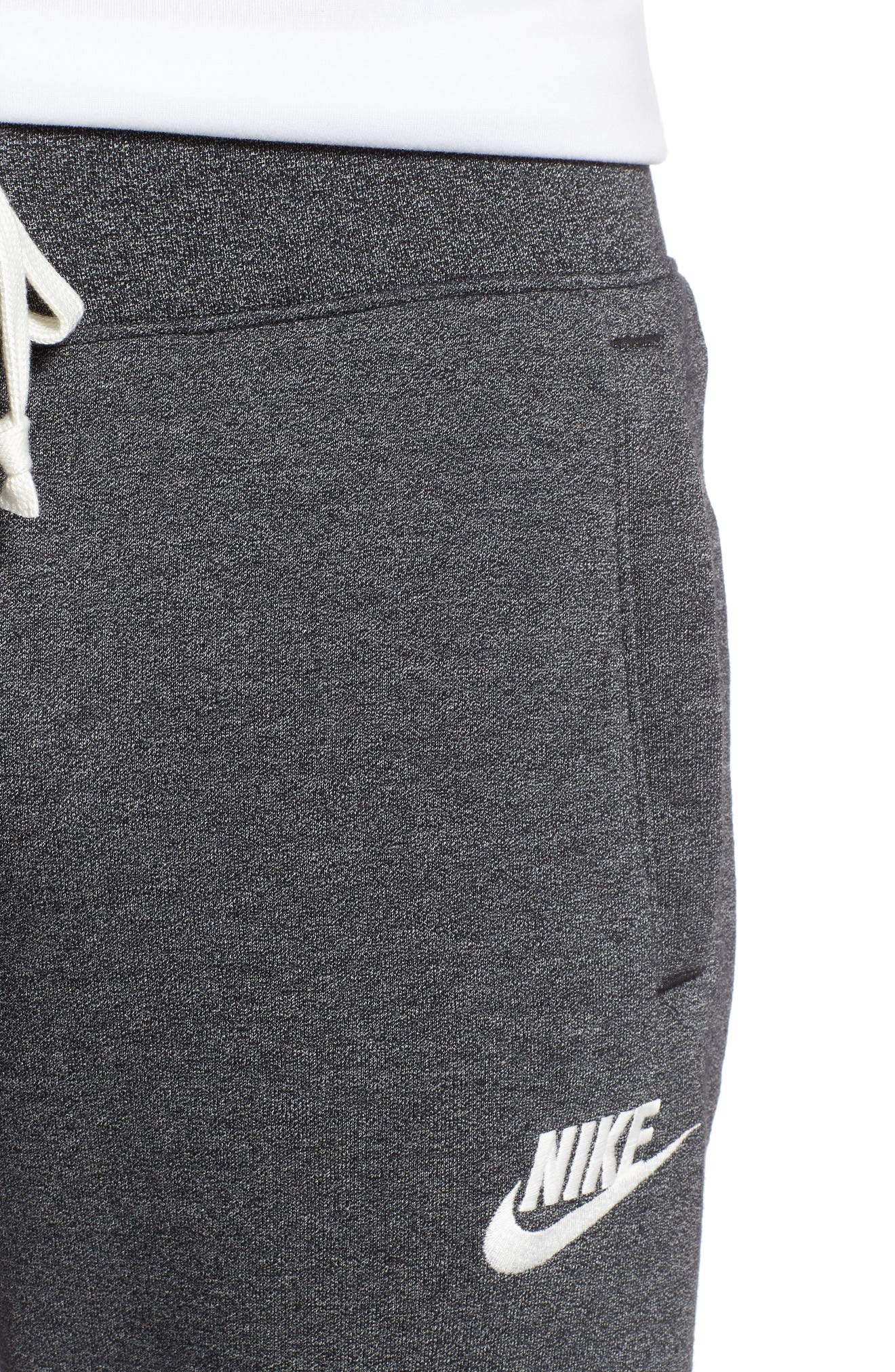 NIKE, Heritage Jogger Pants, Alternate thumbnail 5, color, BLACK/ HEATHER/ SAIL