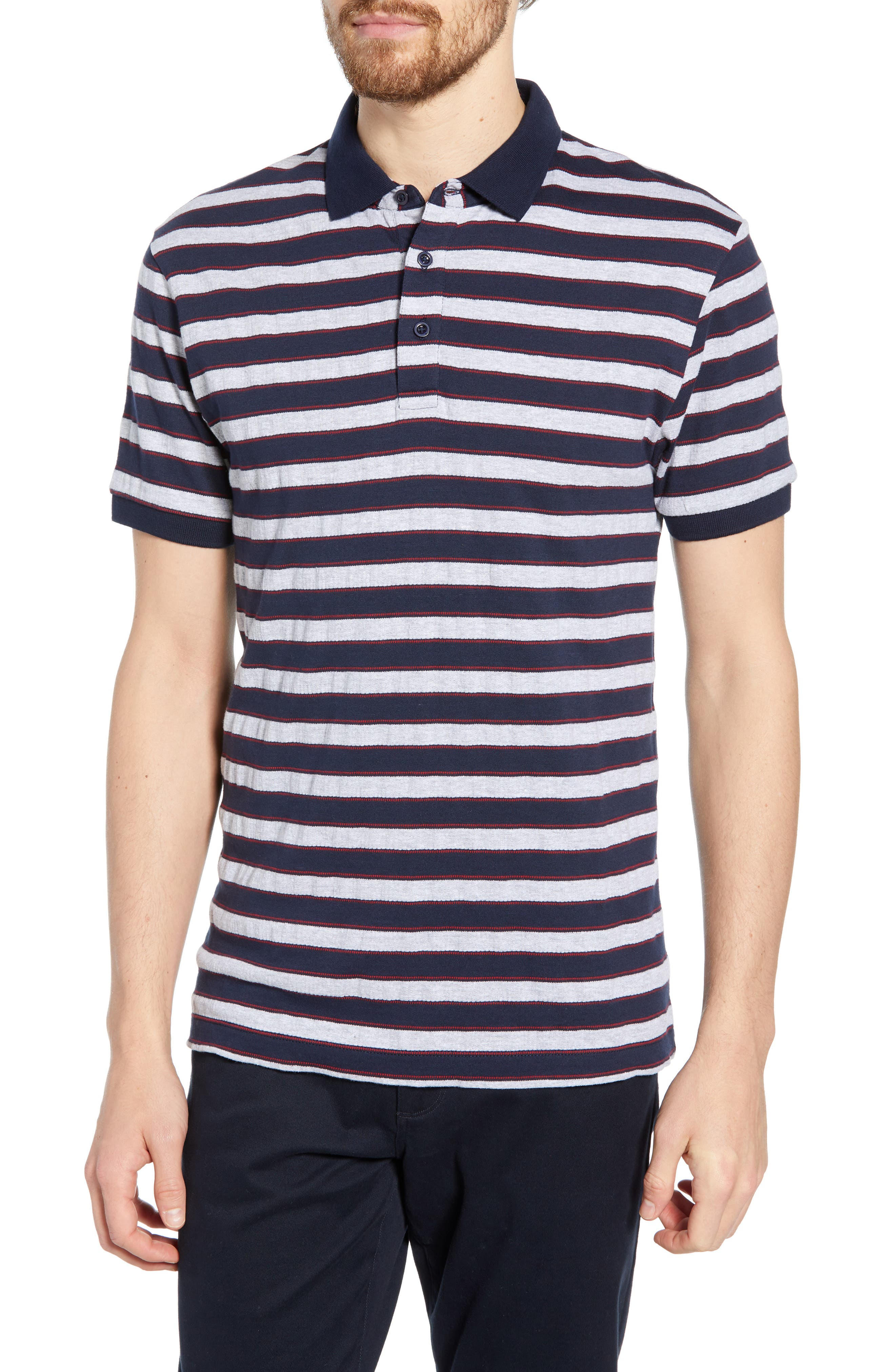 FRENCH CONNECTION, Stripe Regular Fit Mélange Polo, Main thumbnail 1, color, UTILITY BLUE