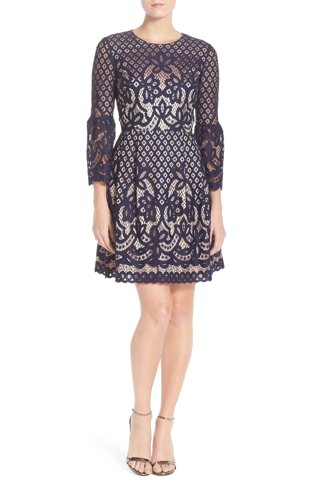 ELIZA J, Bell Sleeve Lace Fit & Flare Dress, Alternate thumbnail 6, color, 410