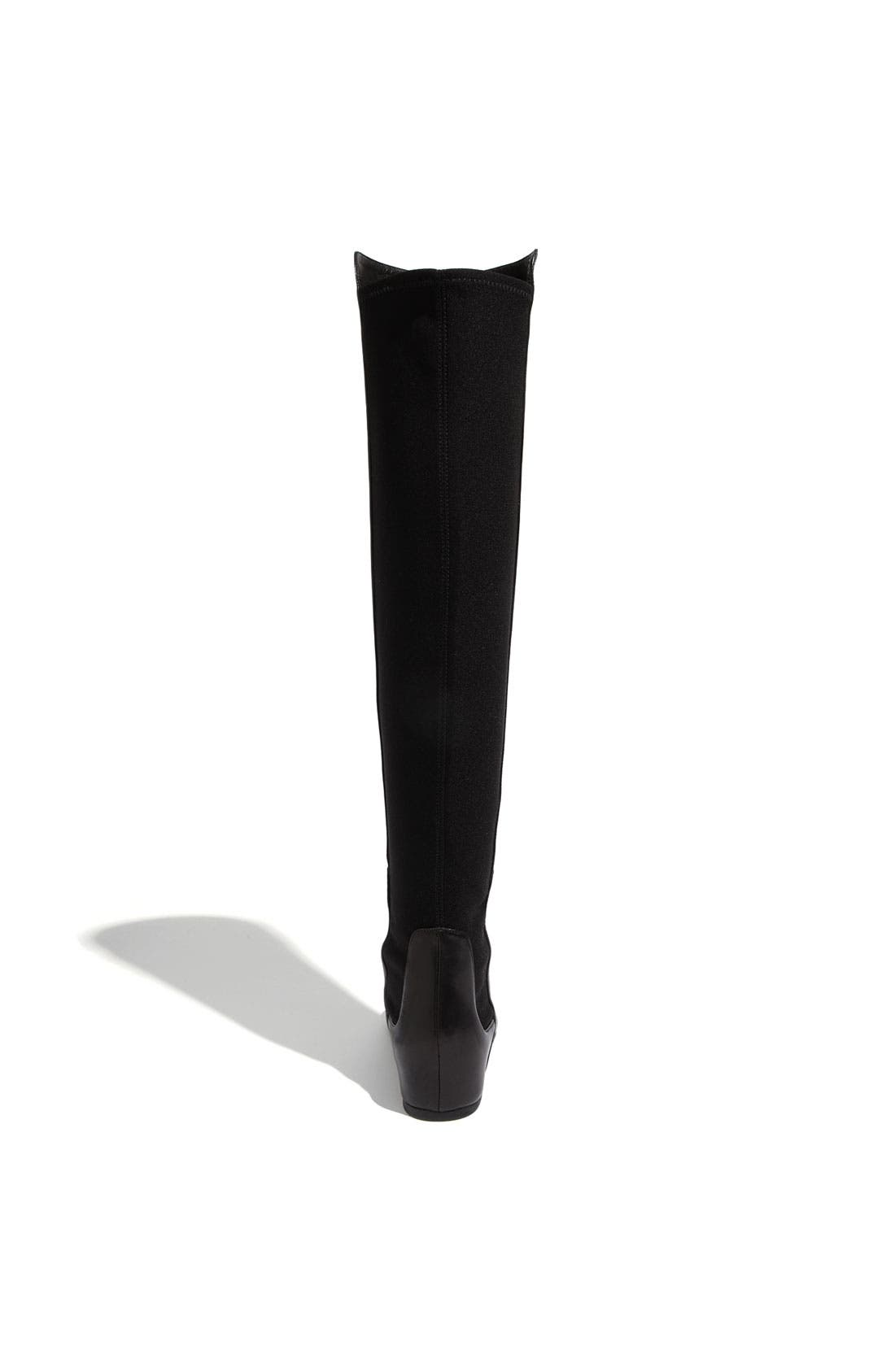 STUART WEITZMAN, 'Mainline' Stretch Fabric & Nappa Leather Over the Knee Boot, Alternate thumbnail 3, color, 002