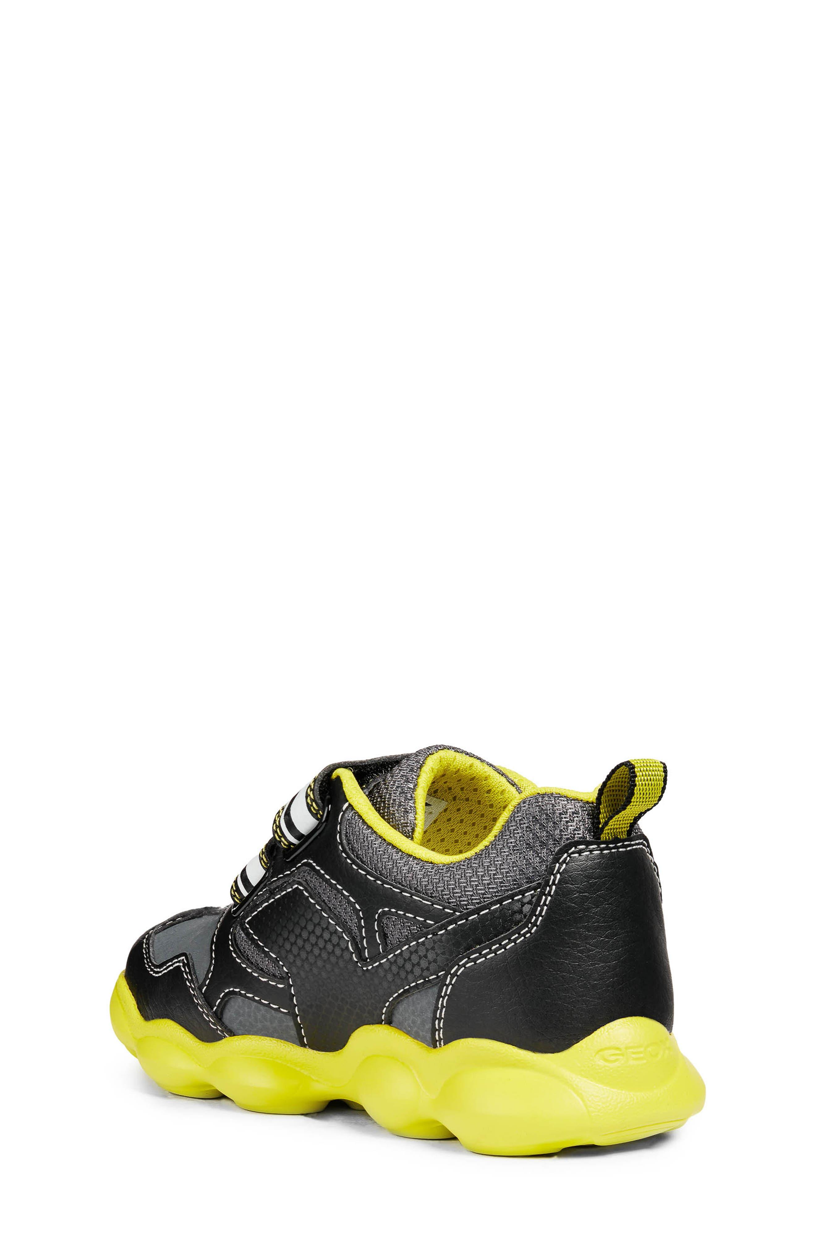 GEOX, Munfrey Waterproof Sneaker, Alternate thumbnail 2, color, BLACK/ LIME