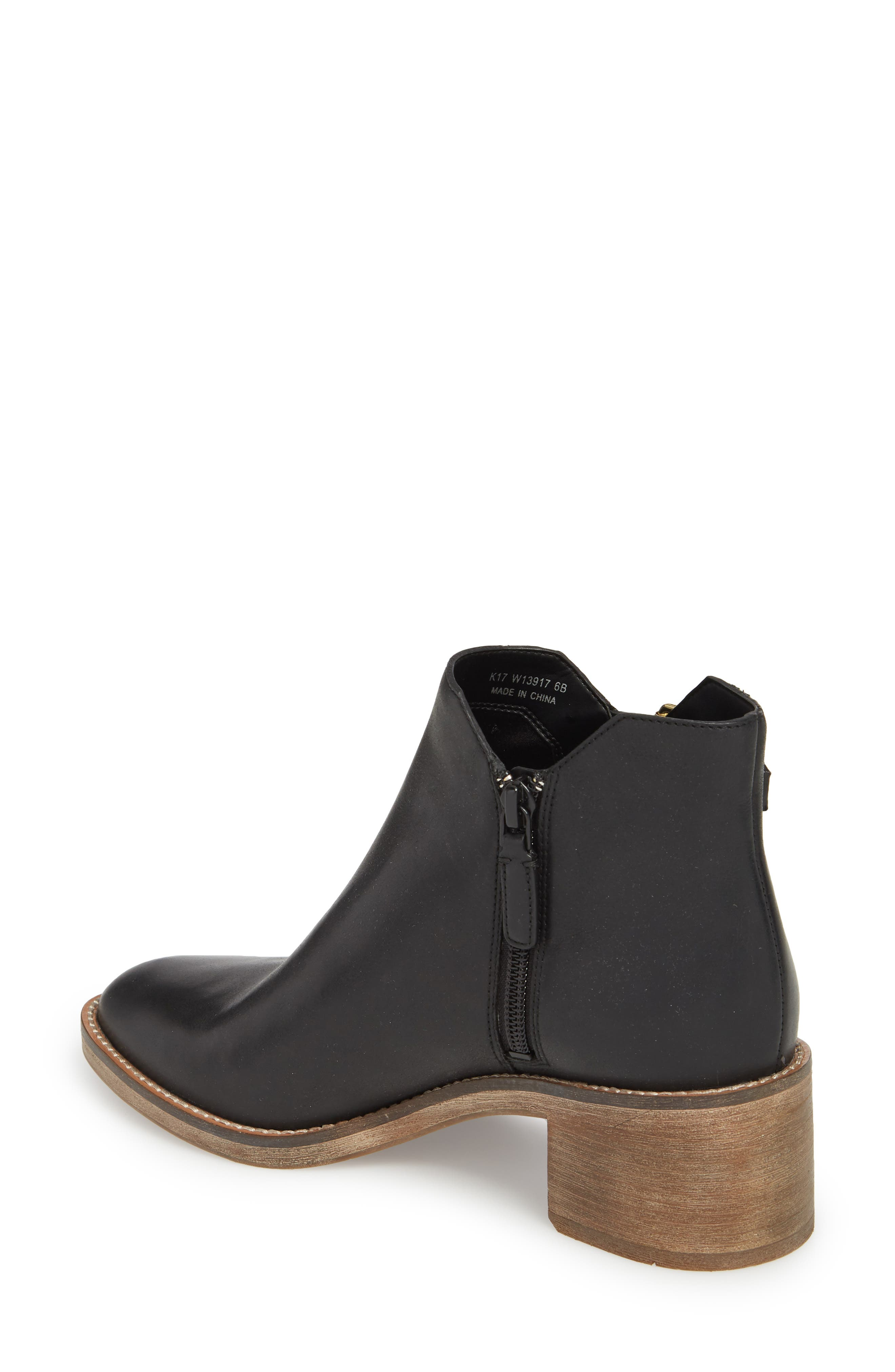 COLE HAAN, Harrington Grand Buckle Bootie, Alternate thumbnail 2, color, BLACK LEATHER