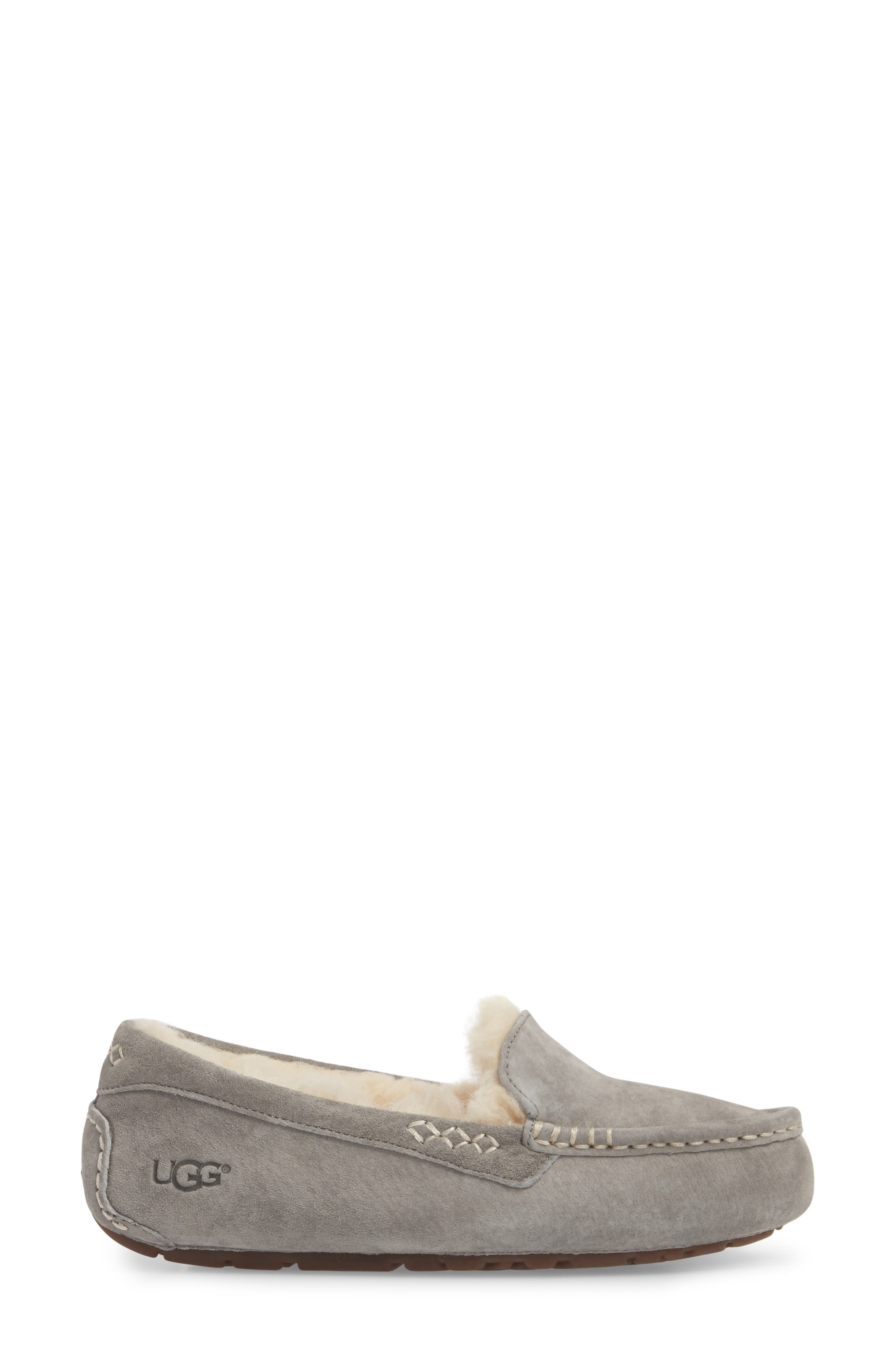 UGG<SUP>®</SUP>, Ansley Water Resistant Slipper, Alternate thumbnail 3, color, LIGHT GREY