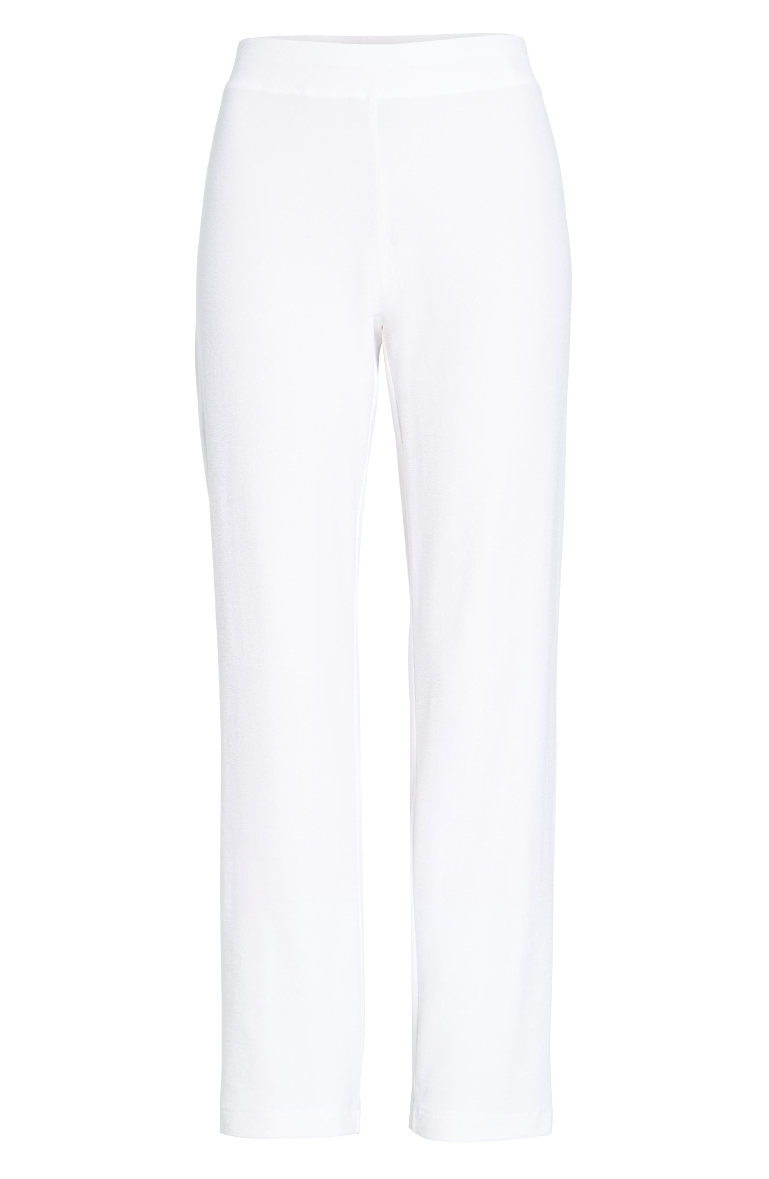 EILEEN FISHER, Stretch Crepe Slim Ankle Pants, Alternate thumbnail 6, color, WHITE