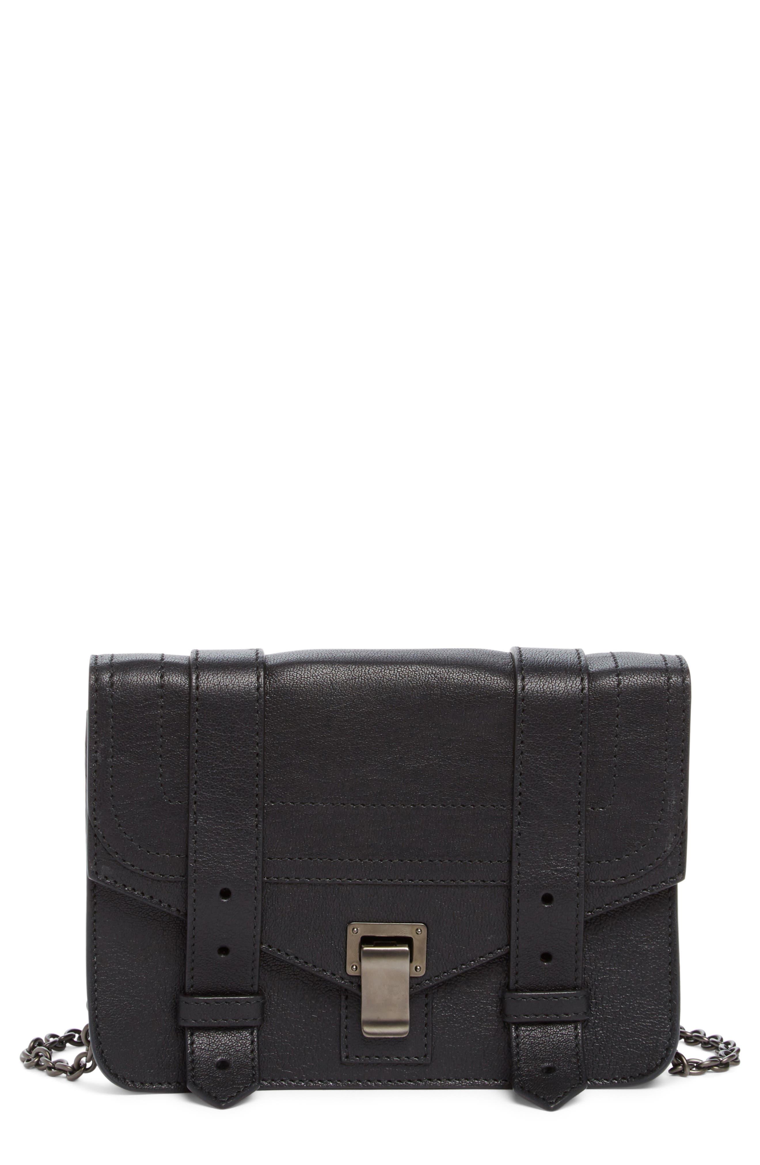 PROENZA SCHOULER, Tiny PS1+ Grainy Leather Satchel, Alternate thumbnail 7, color, BLACK