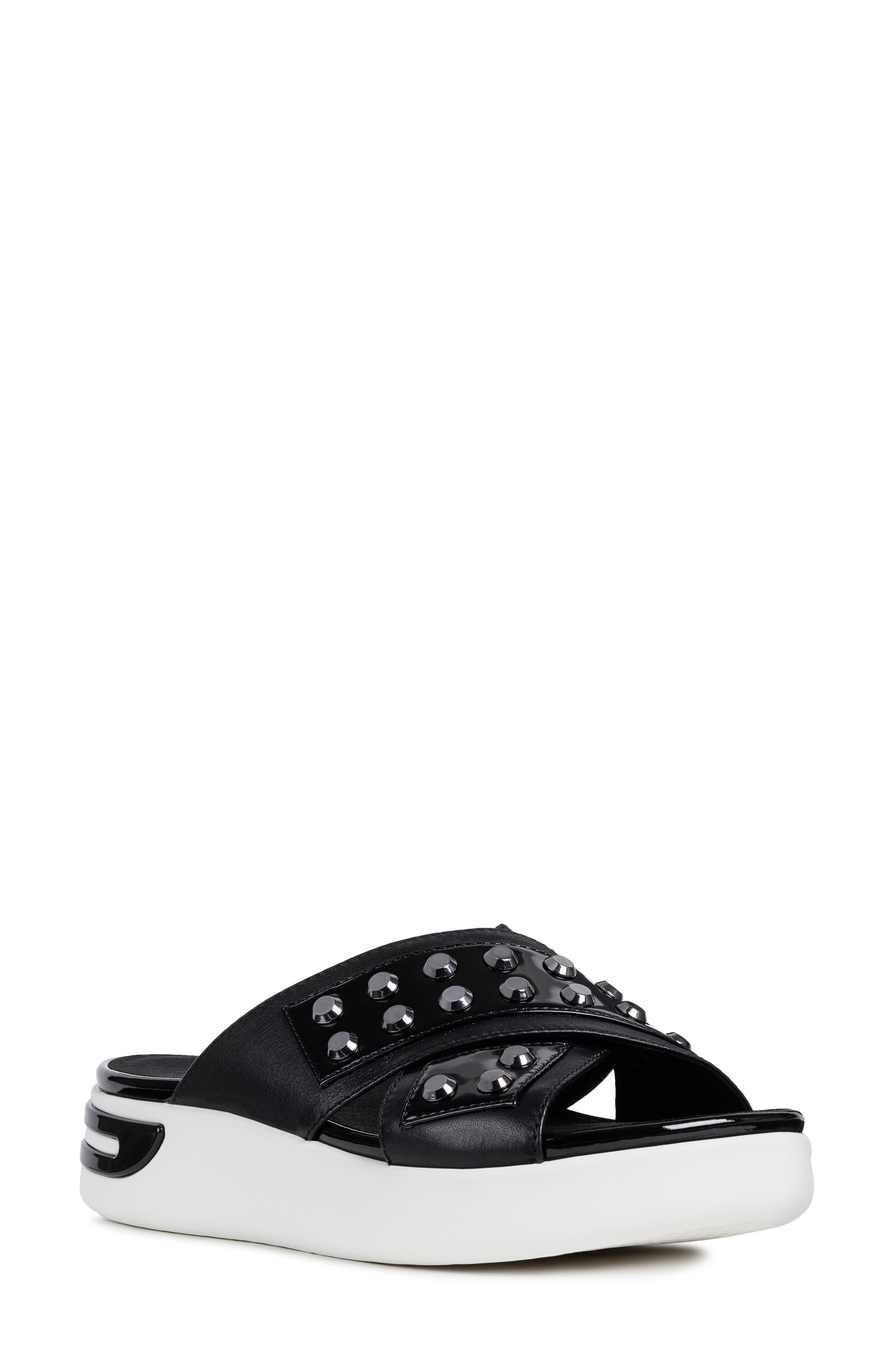 GEOX, Ottaya Studded Slide Sandal, Main thumbnail 1, color, BLACK LEATHER