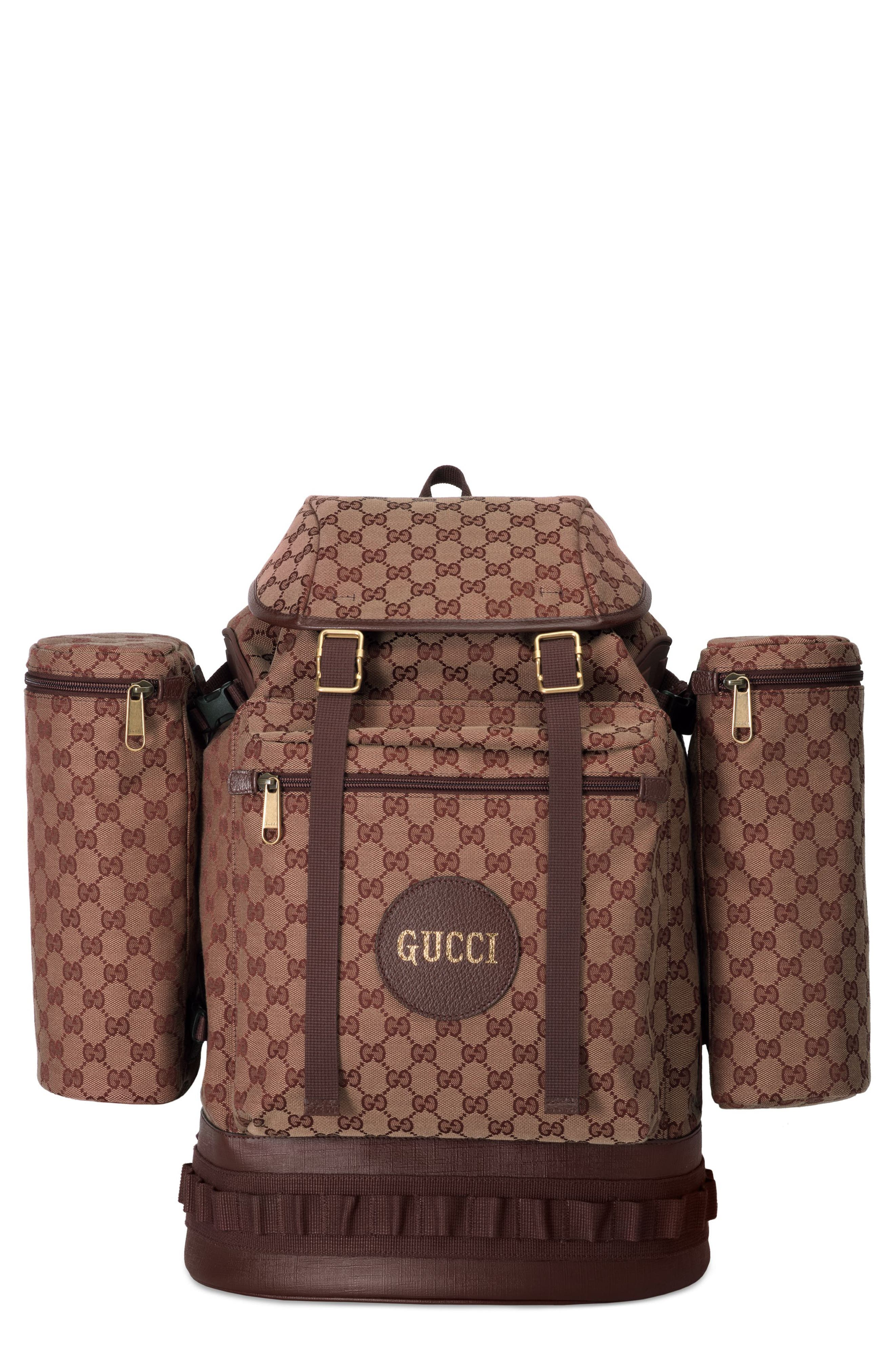 GUCCI, Large GG Canvas Backpack, Main thumbnail 1, color, BROWN RED