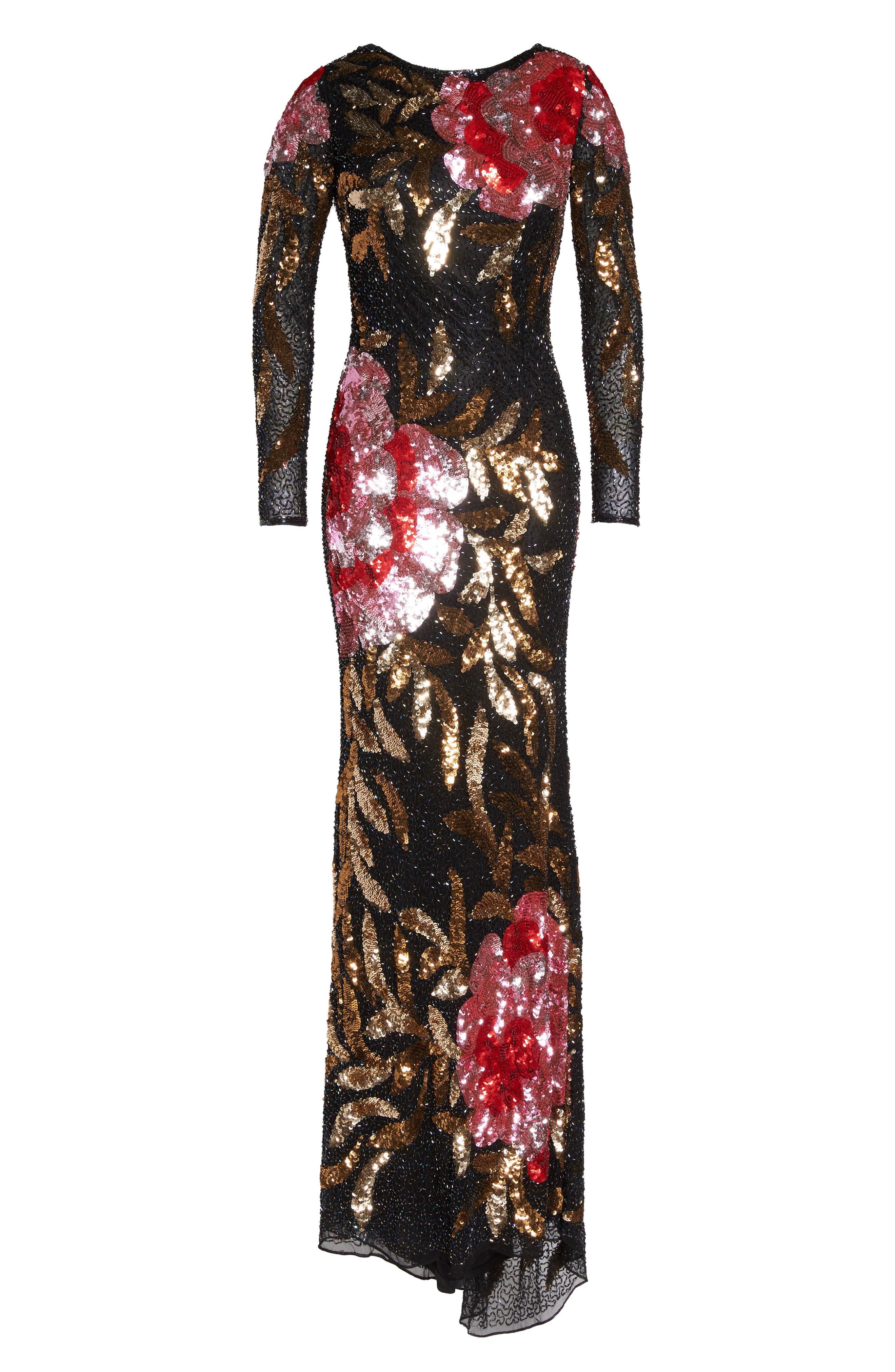 MAC DUGGAL, Drape Back Floral Sequin Gown, Alternate thumbnail 7, color, BLACK/ RED MULTI