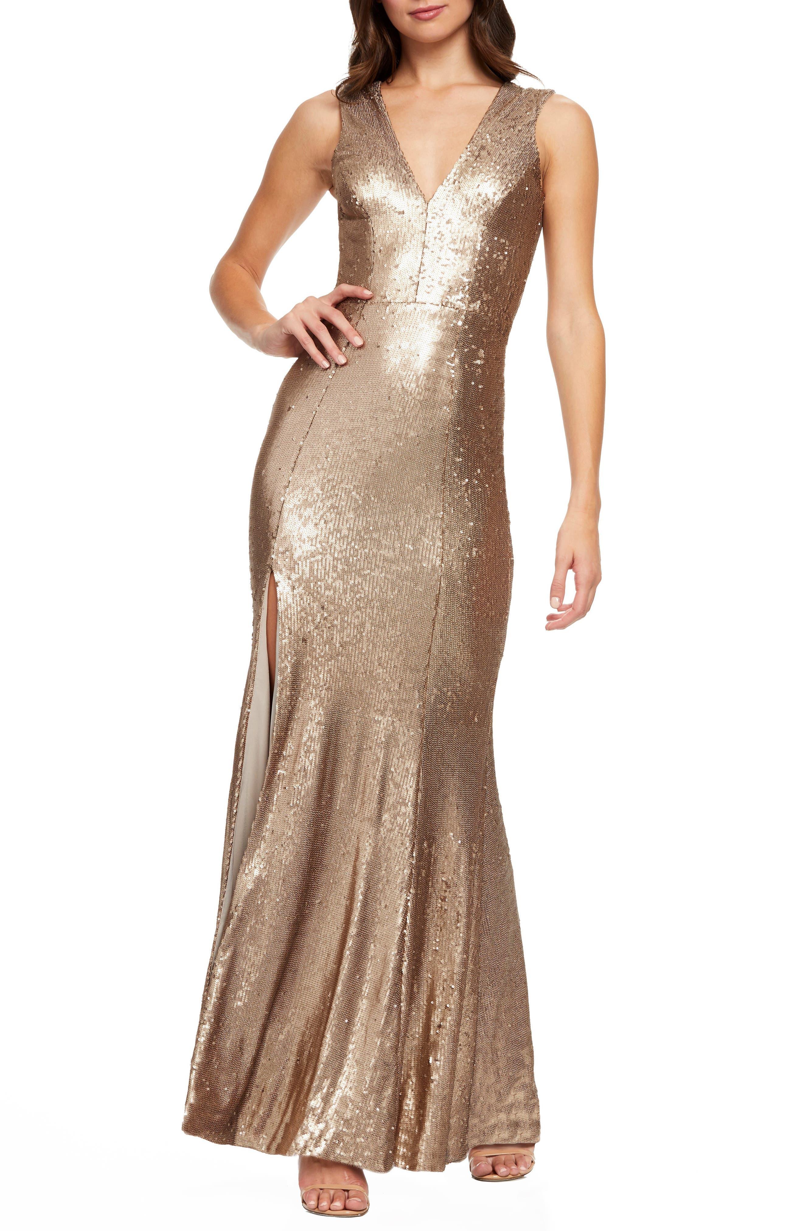 Dress The Population Sandra Plunge Sequin Evening Dress, Metallic