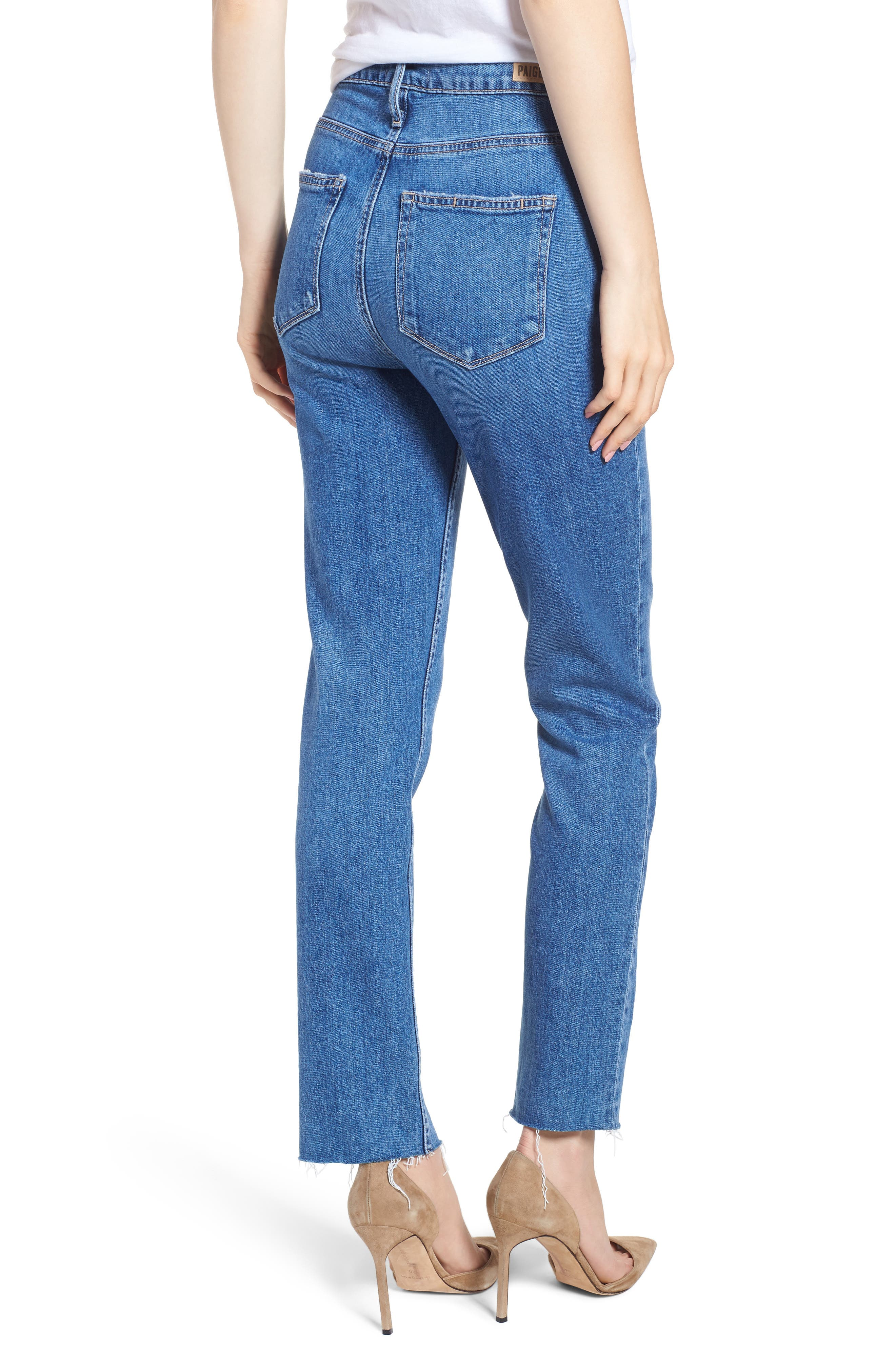 PAIGE, Vintage Hoxton High Waist Slim Raw Hem Jeans, Alternate thumbnail 2, color, BIRDIE