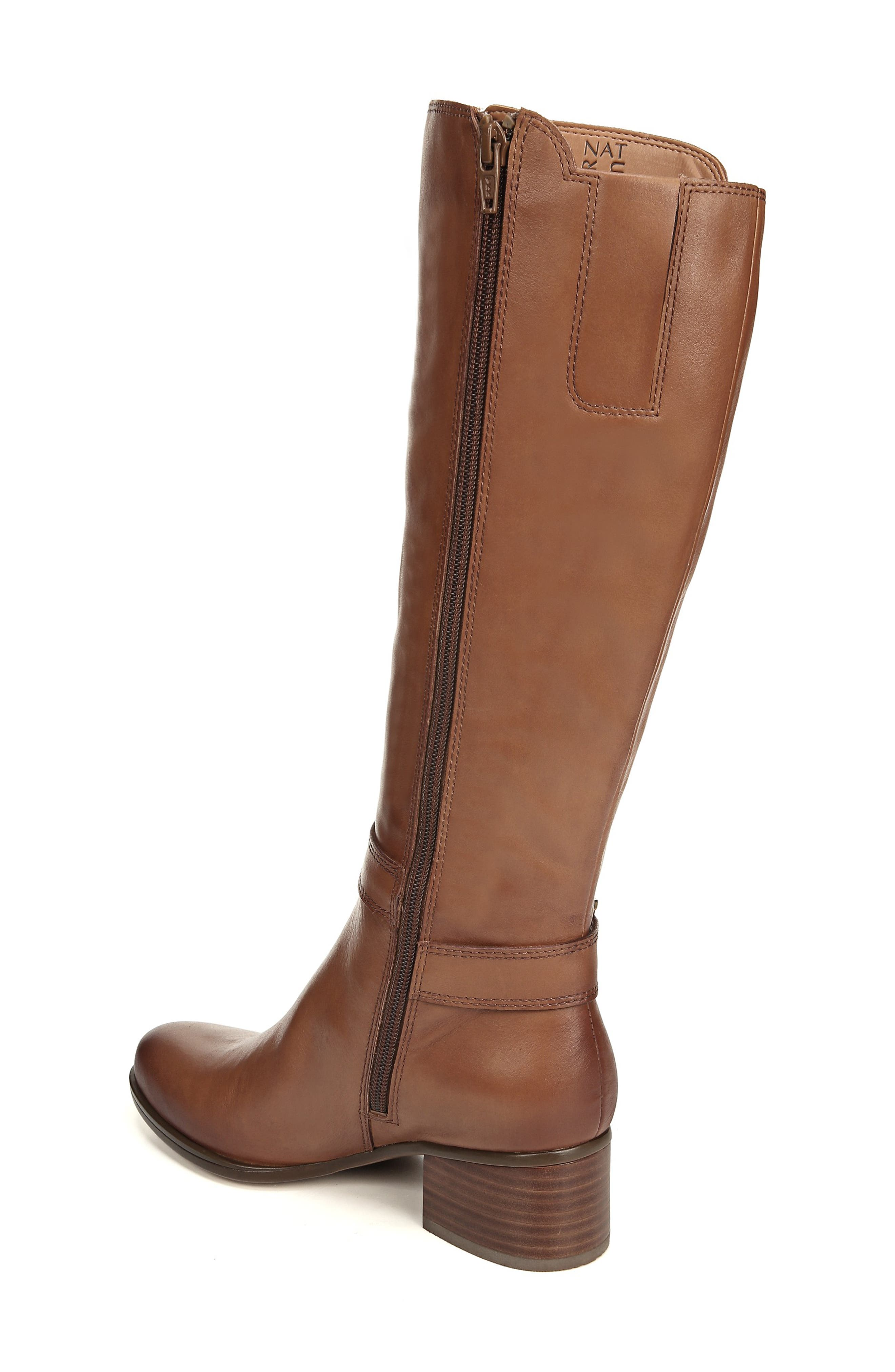 NATURALIZER, Dane Knee High Riding Boot, Alternate thumbnail 2, color, MAPLE LEATHER