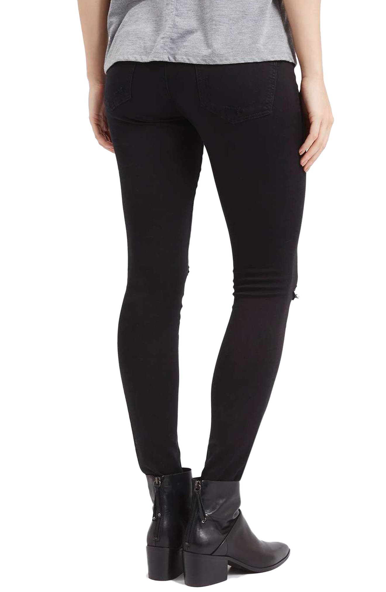 TOPSHOP, Moto Leigh Ripped Skinny Jeans, Alternate thumbnail 2, color, 001