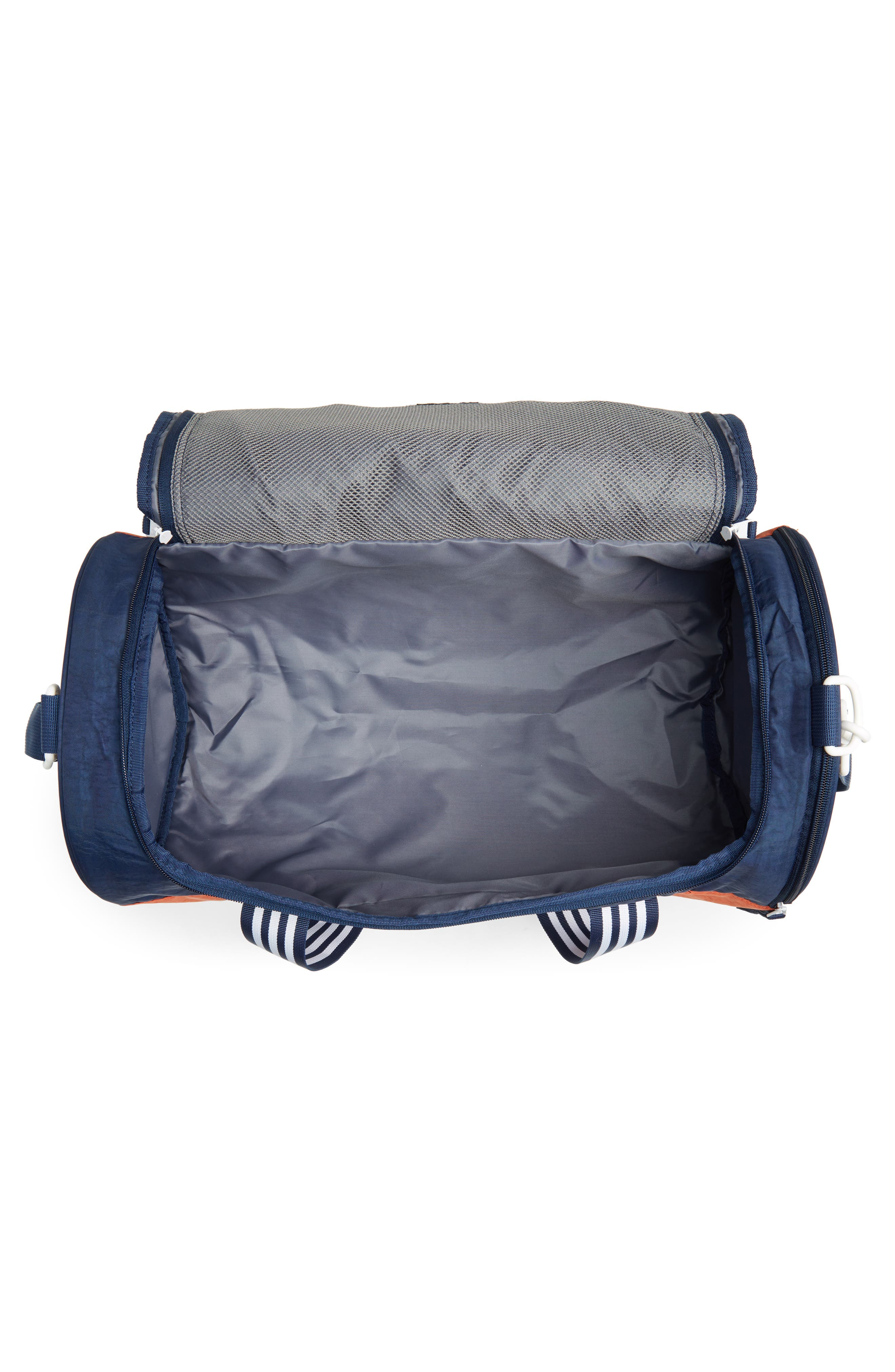 ADIDAS ORIGINALS, adidas Spirit Roll Duffle Bag, Alternate thumbnail 4, color, COLLEGIATE NAVY/ AMBER/ WHITE