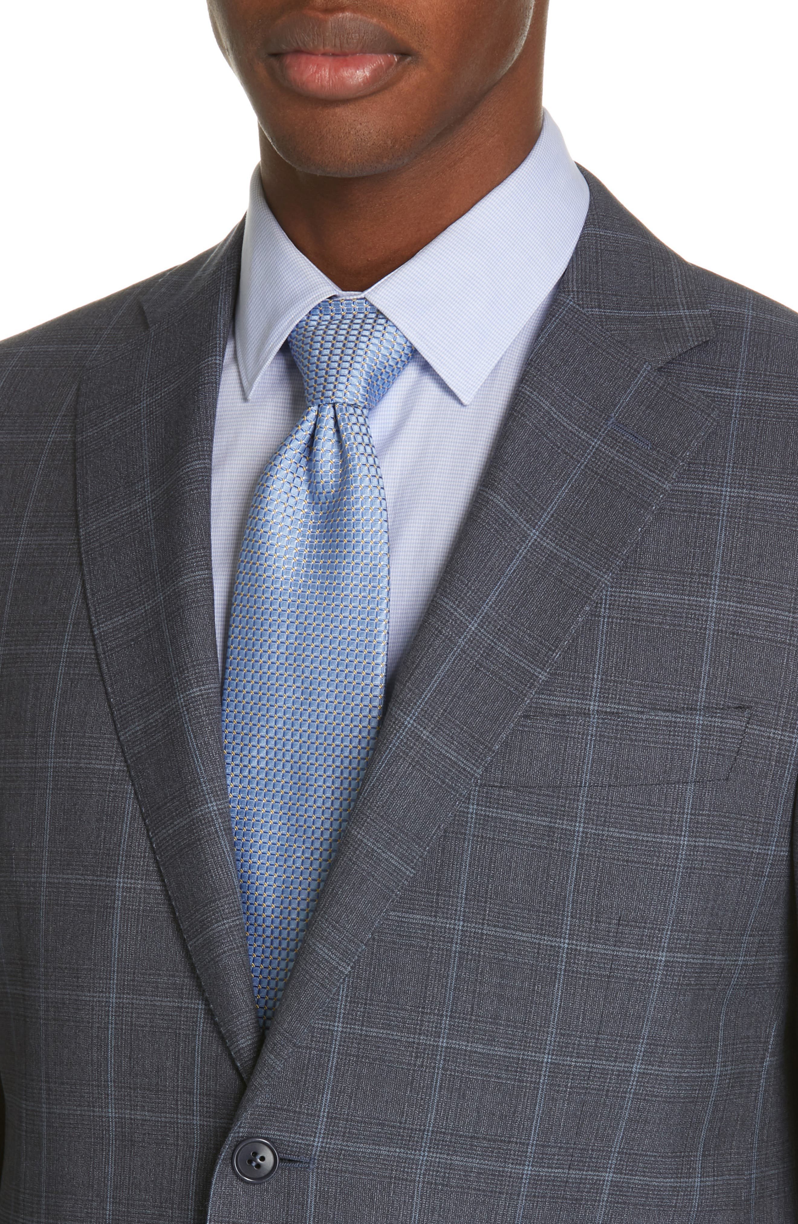 CANALI, Siena Soft Classic Fit Plaid Wool Suit, Alternate thumbnail 4, color, CHARCOAL