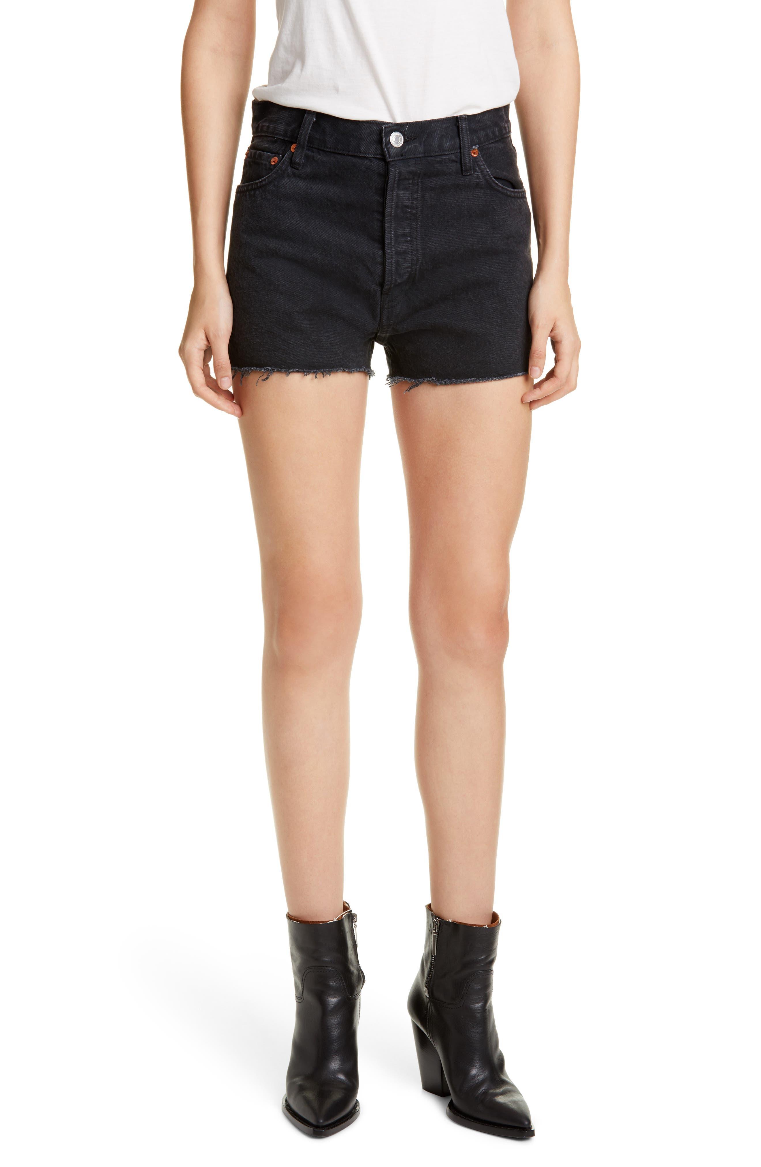 Vintage High Waisted Shorts, Sailor Shorts, Retro Shorts Womens Redone High Waist Cutoff Denim Shorts $195.00 AT vintagedancer.com