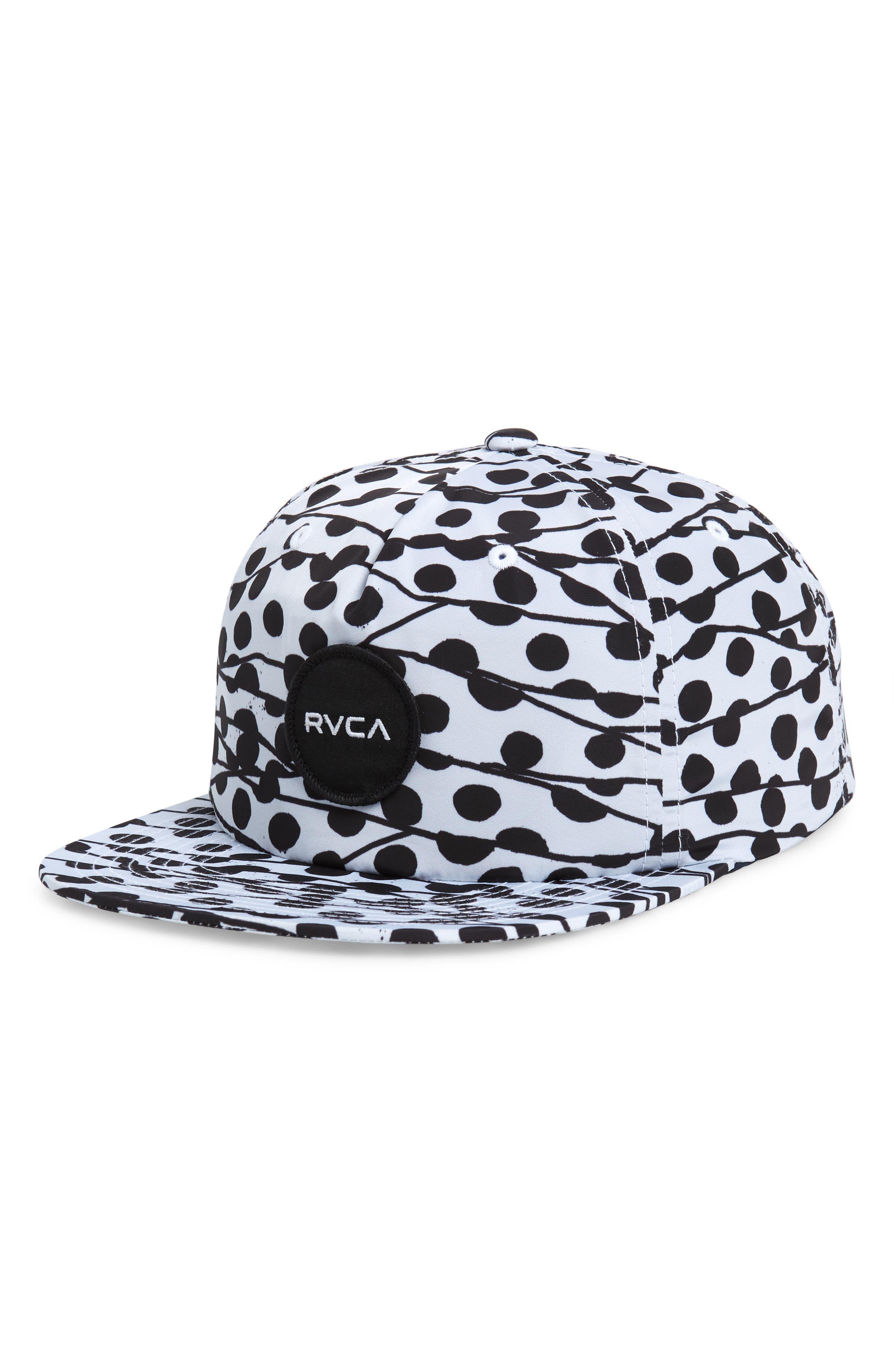 RVCA Print Snapback Baseball Cap, Main, color, BLACK/ WHITE