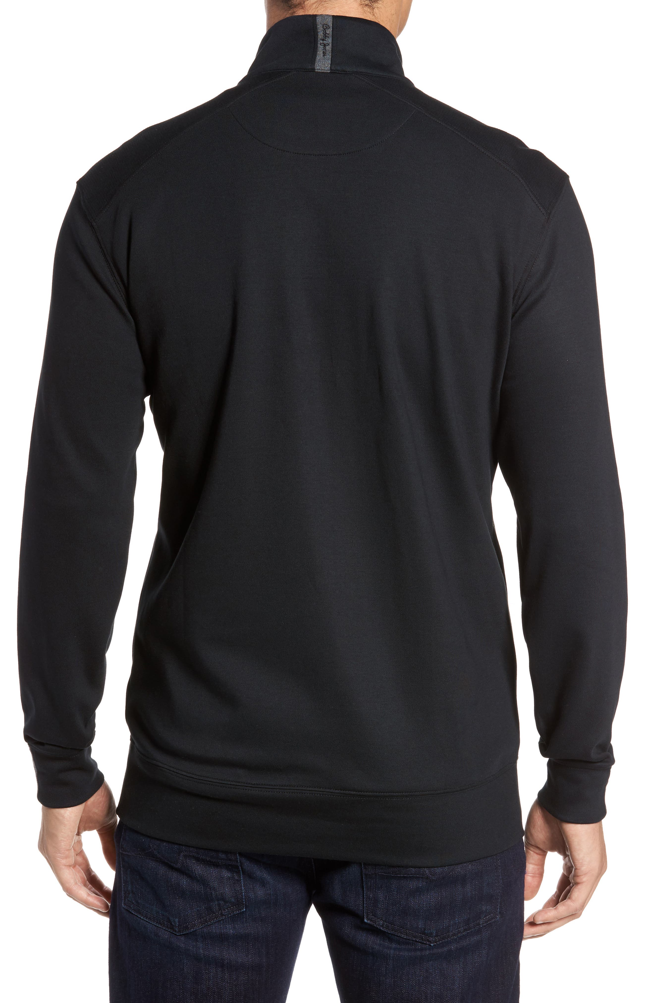 BOBBY JONES, 'New Leaderboard' Quarter Zip Pullover, Alternate thumbnail 2, color, BLACK