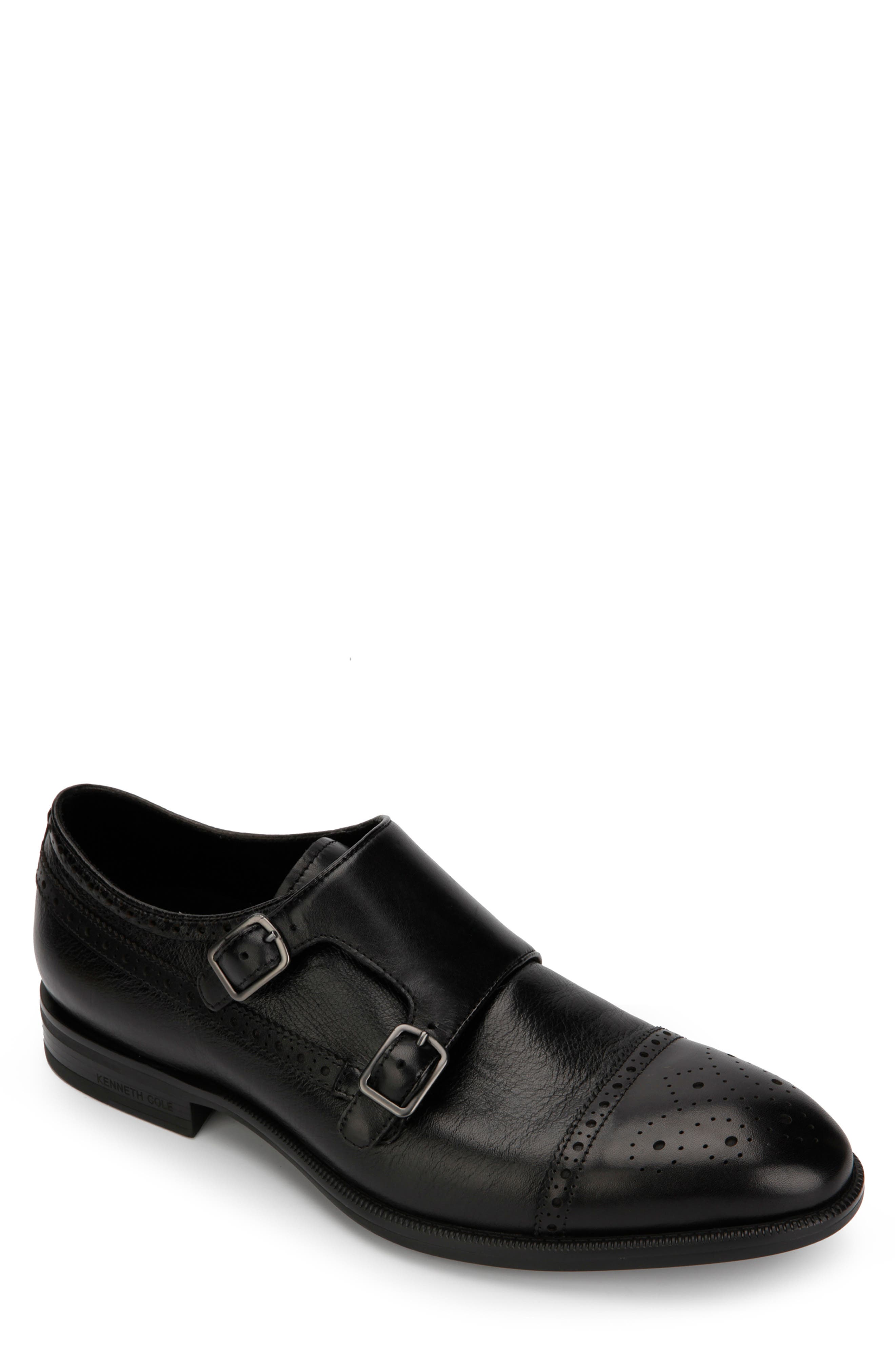 KENNETH COLE NEW YORK, Futurepod Double Monk Strap Shoe, Main thumbnail 1, color, BLACK TUMBLED LEATHER
