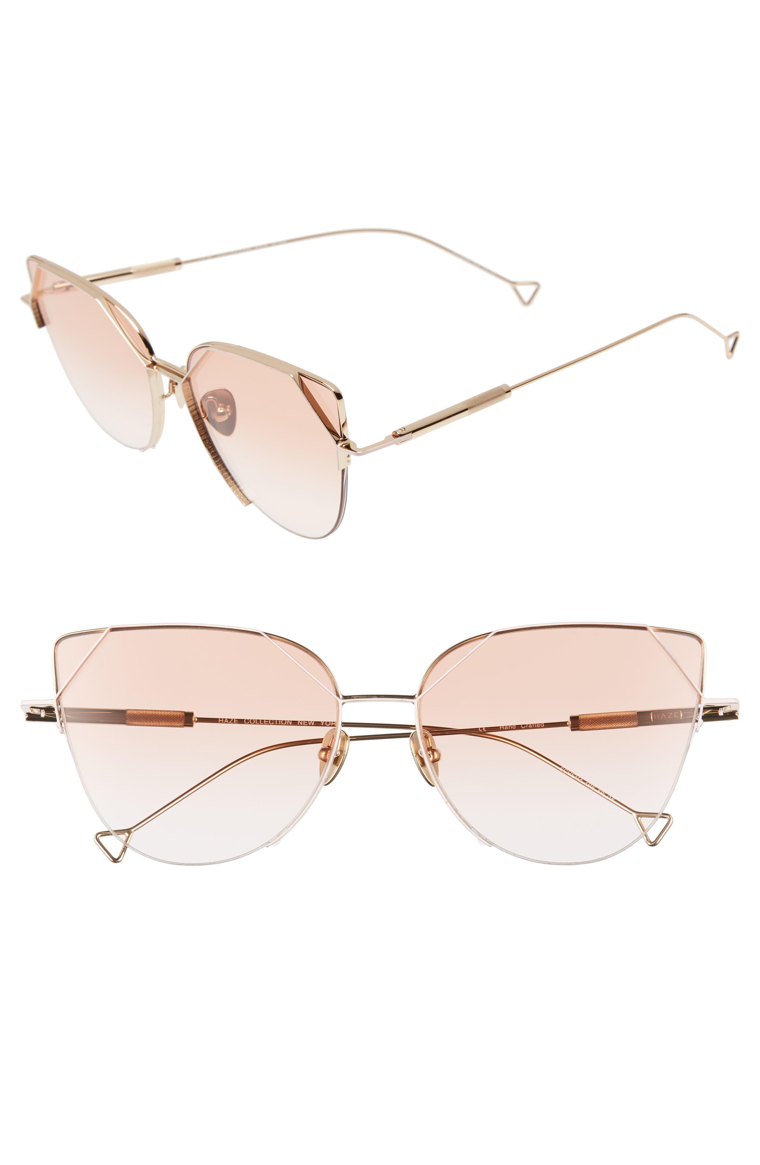HAZE The Schema 59mm Cat Eye Sunglasses, Main, color, NUDE