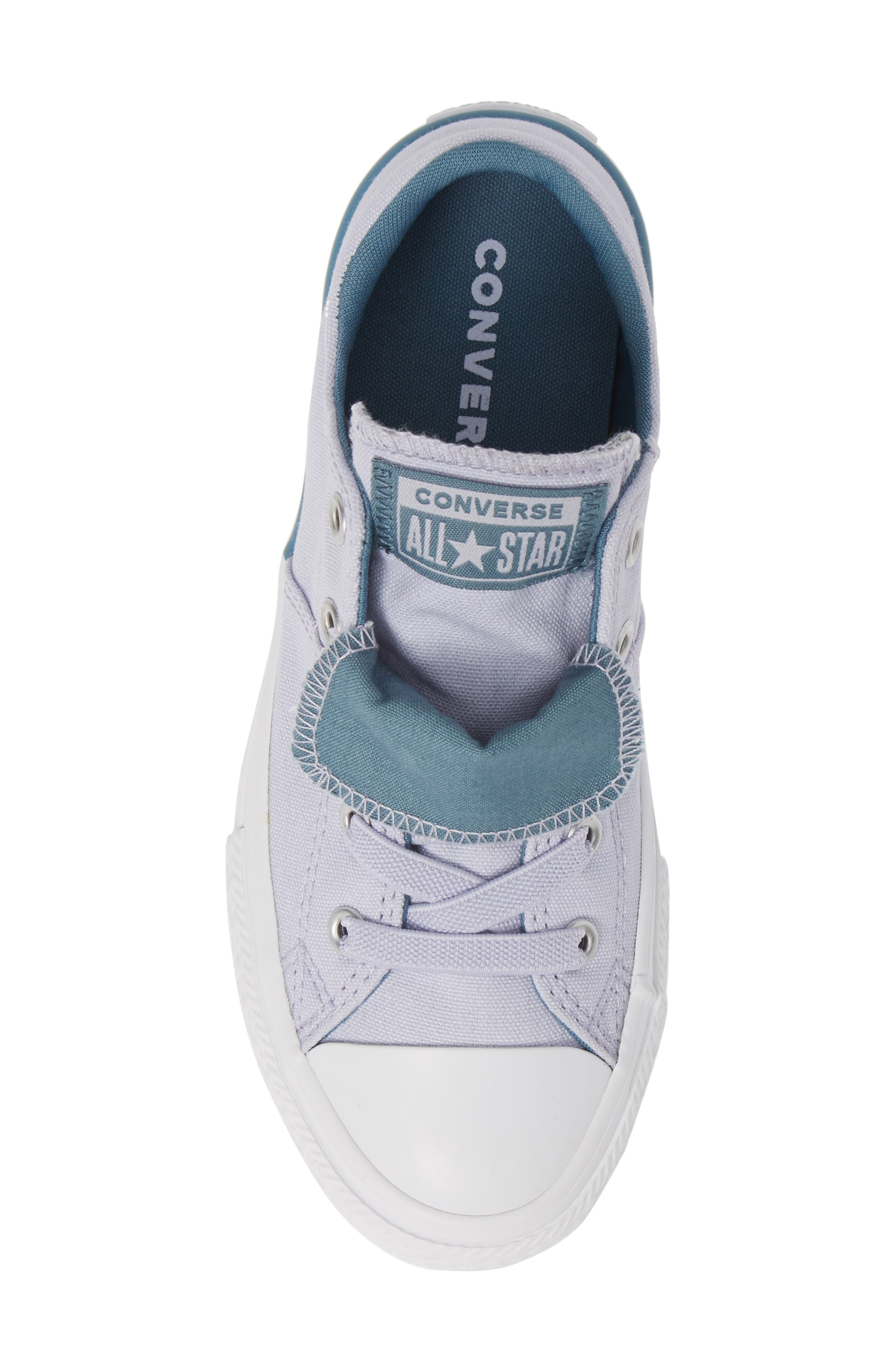 CONVERSE, Chuck Taylor<sup>®</sup> All Star<sup>®</sup> Maddie Double Tongue Sneaker, Alternate thumbnail 5, color, OXYGEN PURPLE/ CELESTIAL TEAL
