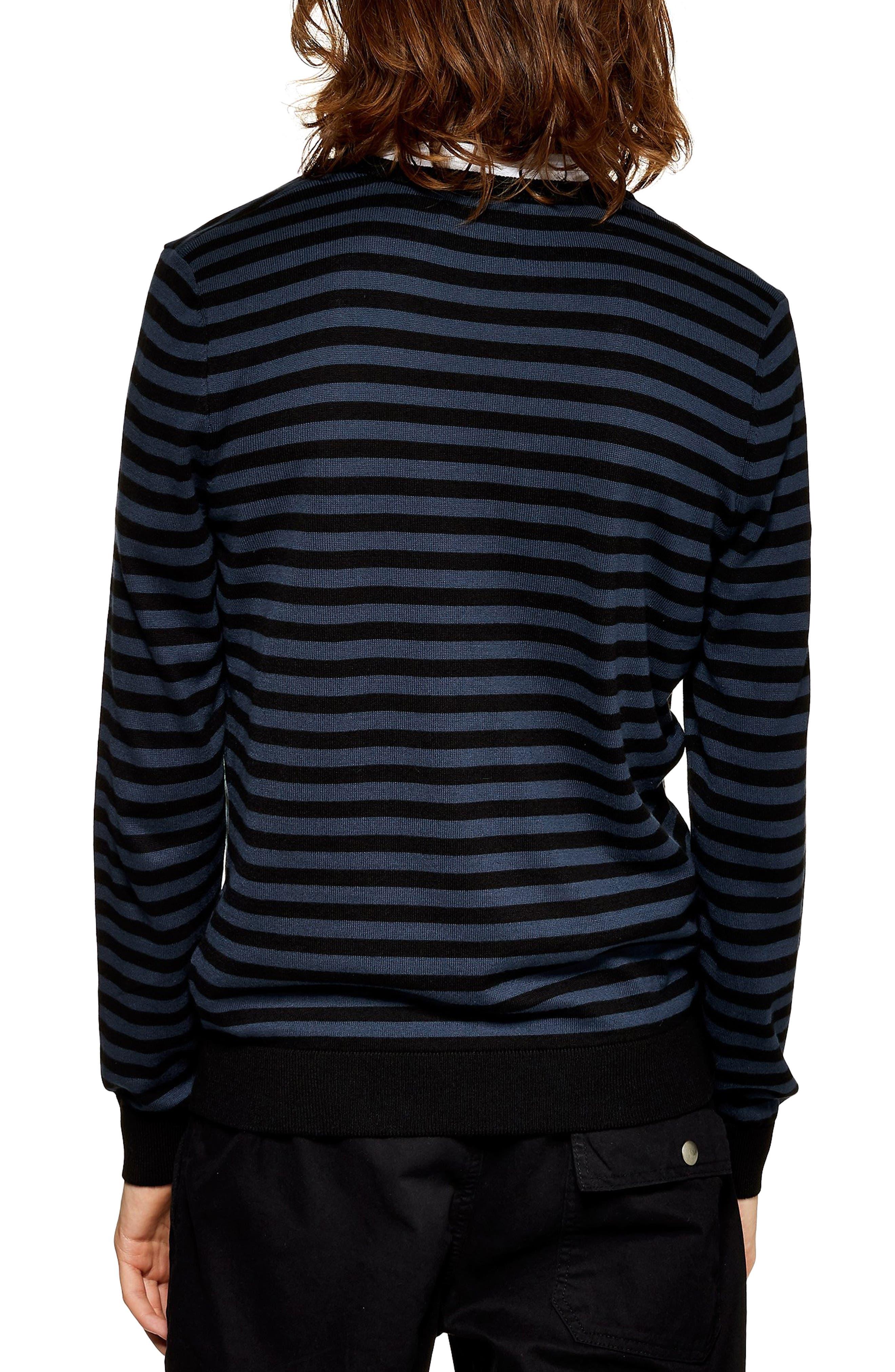 TOPMAN, Stripe V-Neck Sweater, Alternate thumbnail 2, color, BLUE MULTI