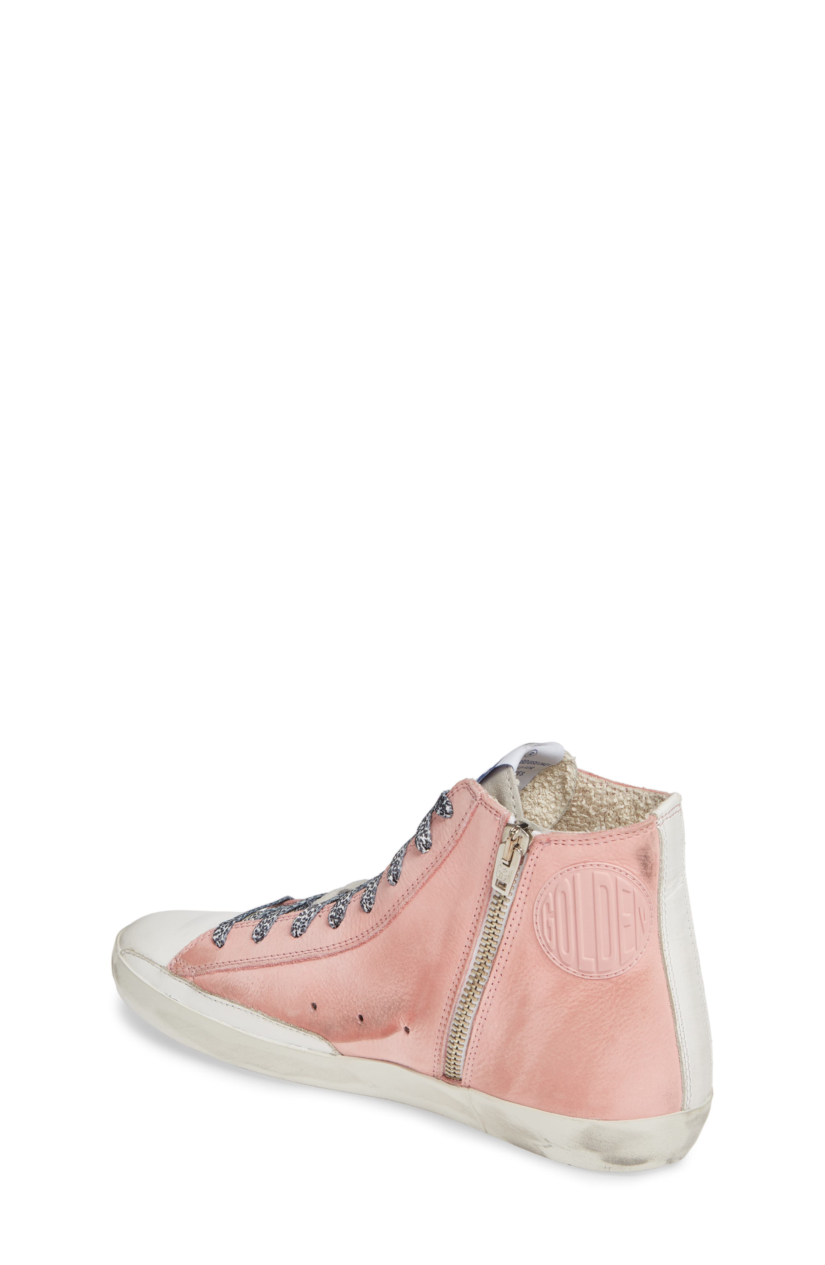 GOLDEN GOOSE, Francy High Top Sneaker, Alternate thumbnail 2, color, PINK PEONY