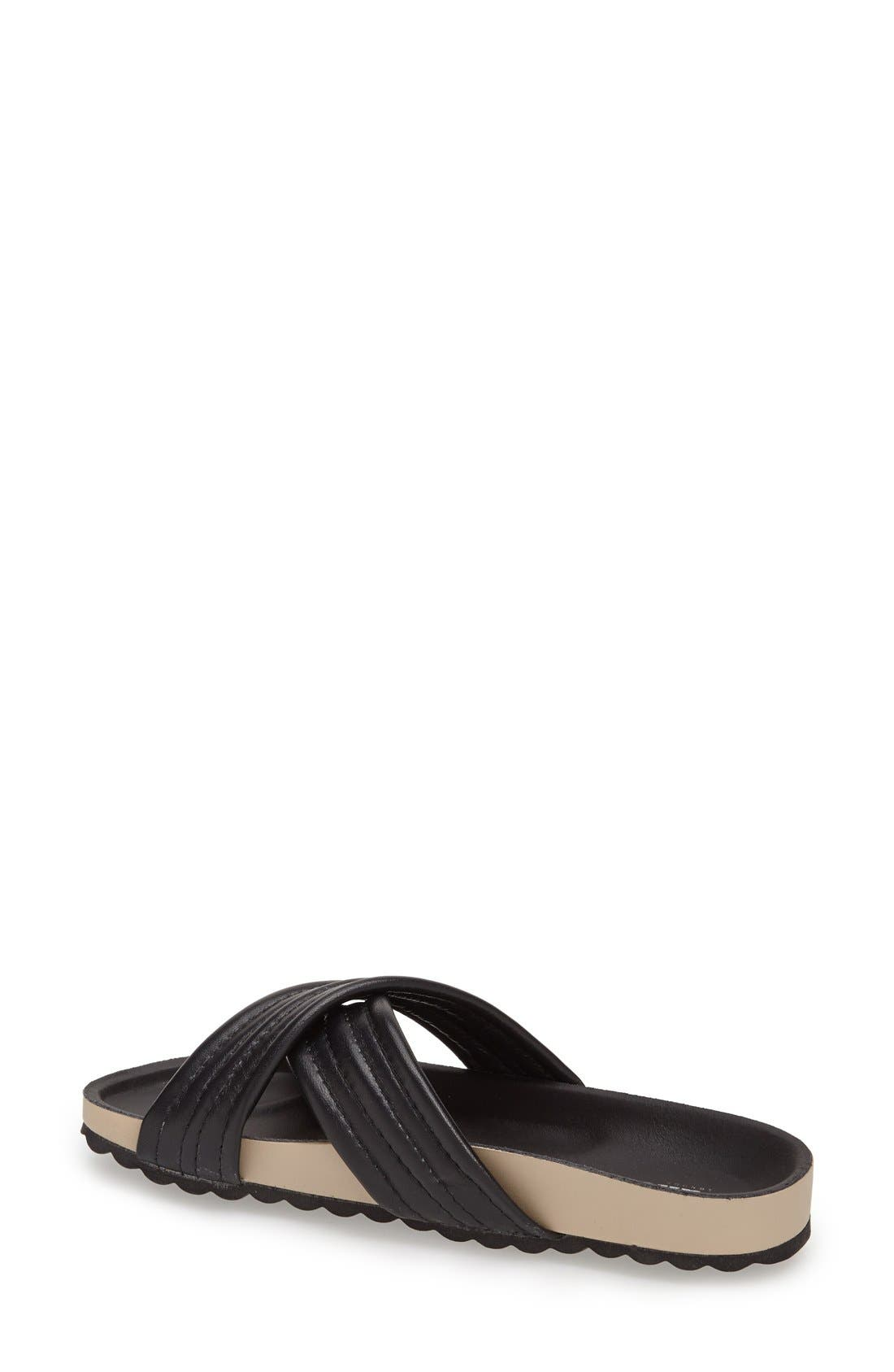 DUNE LONDON, 'Jolenes' Leather Slide Sandal, Alternate thumbnail 2, color, 002
