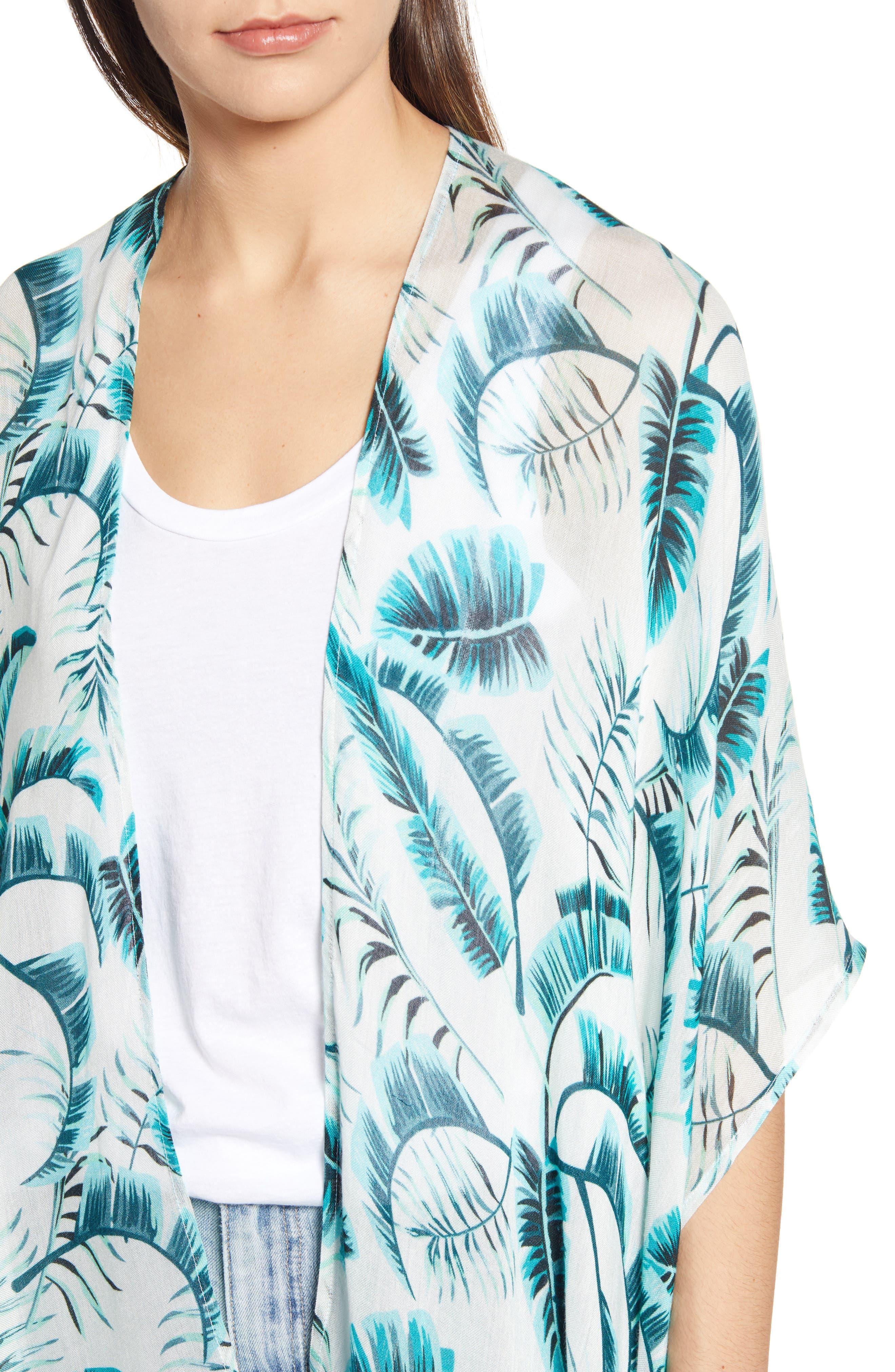 ECHO, Palm Leaf Kimono, Alternate thumbnail 4, color, EMERALD SEA