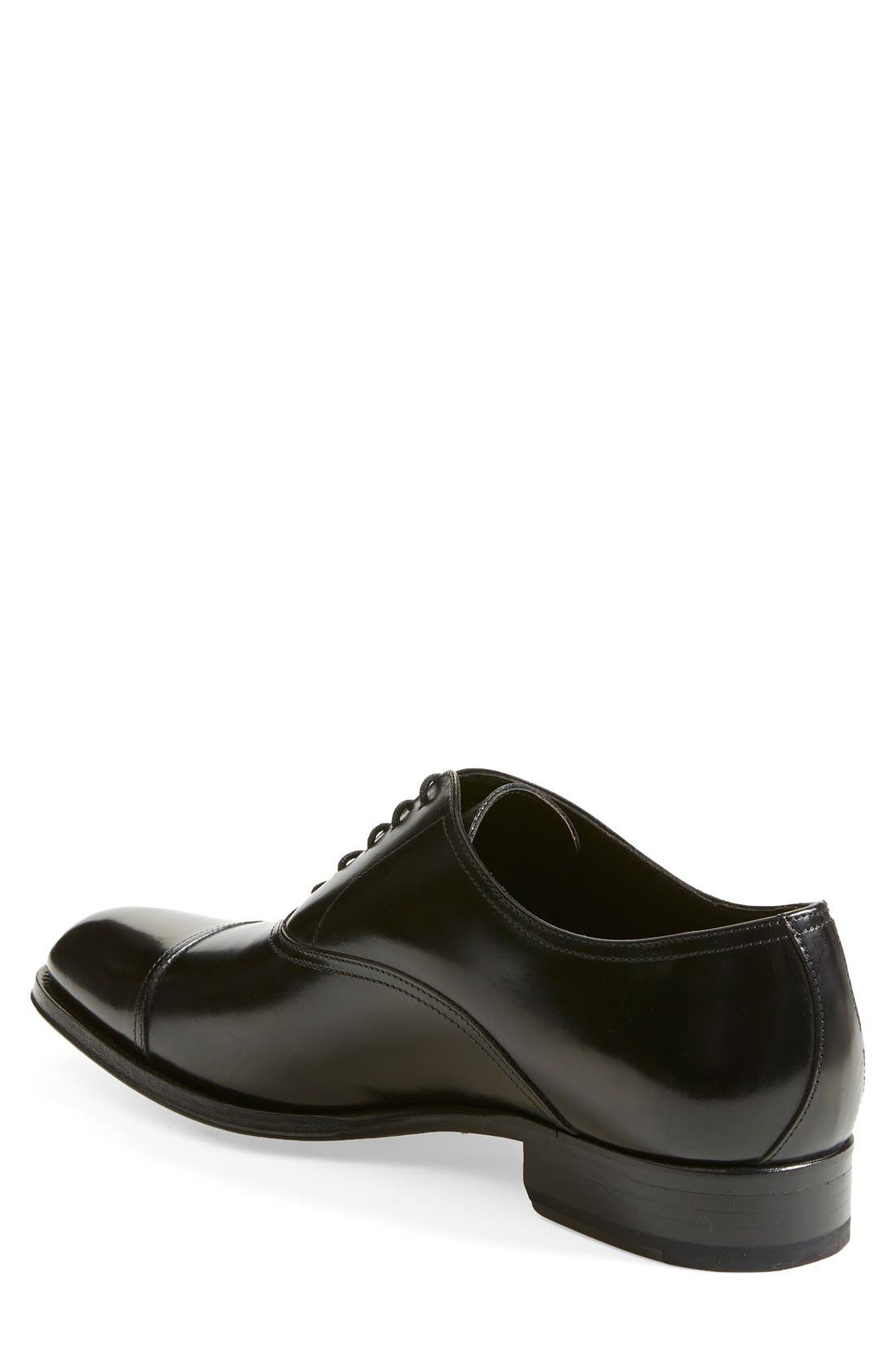 TO BOOT NEW YORK, Brandon Cap Toe Oxford, Alternate thumbnail 3, color, BLACK LEATHER