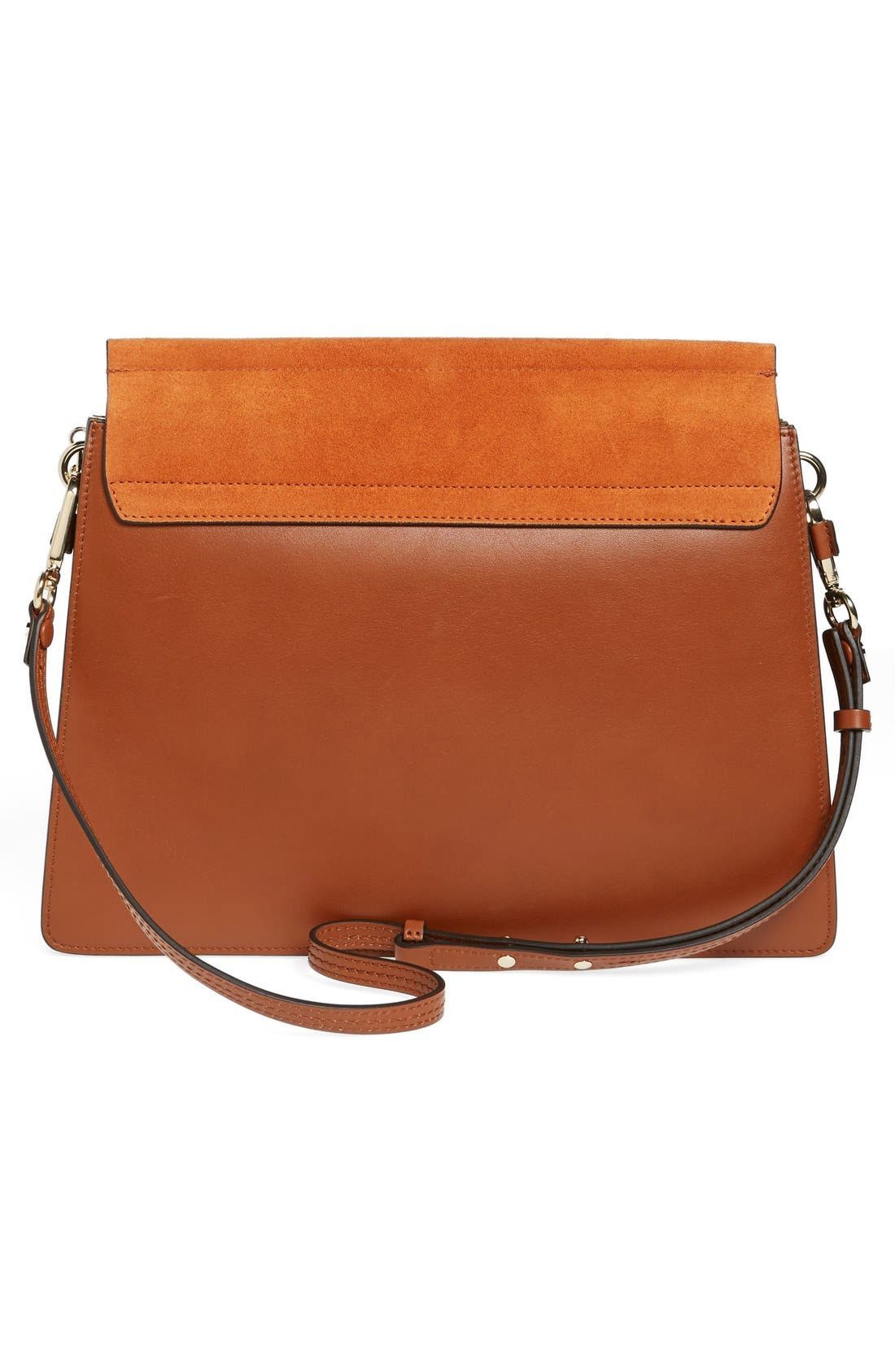 CHLOÉ, 'Faye' Leather & Suede Shoulder Bag, Alternate thumbnail 6, color, CLASSIC TOBACCO