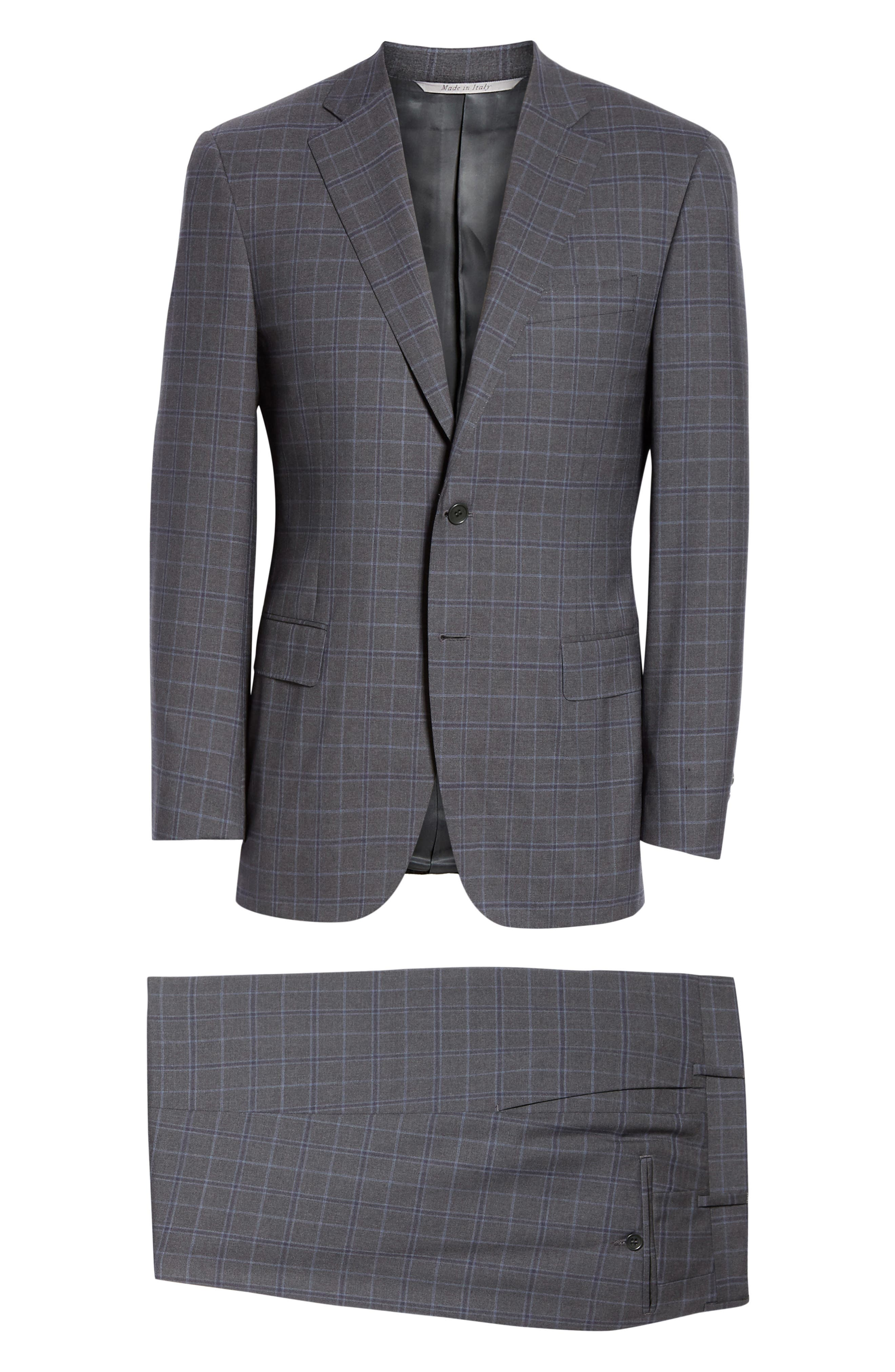 CANALI, Sienna Classic Fit Plaid Wool Suit, Alternate thumbnail 8, color, CHARCOAL