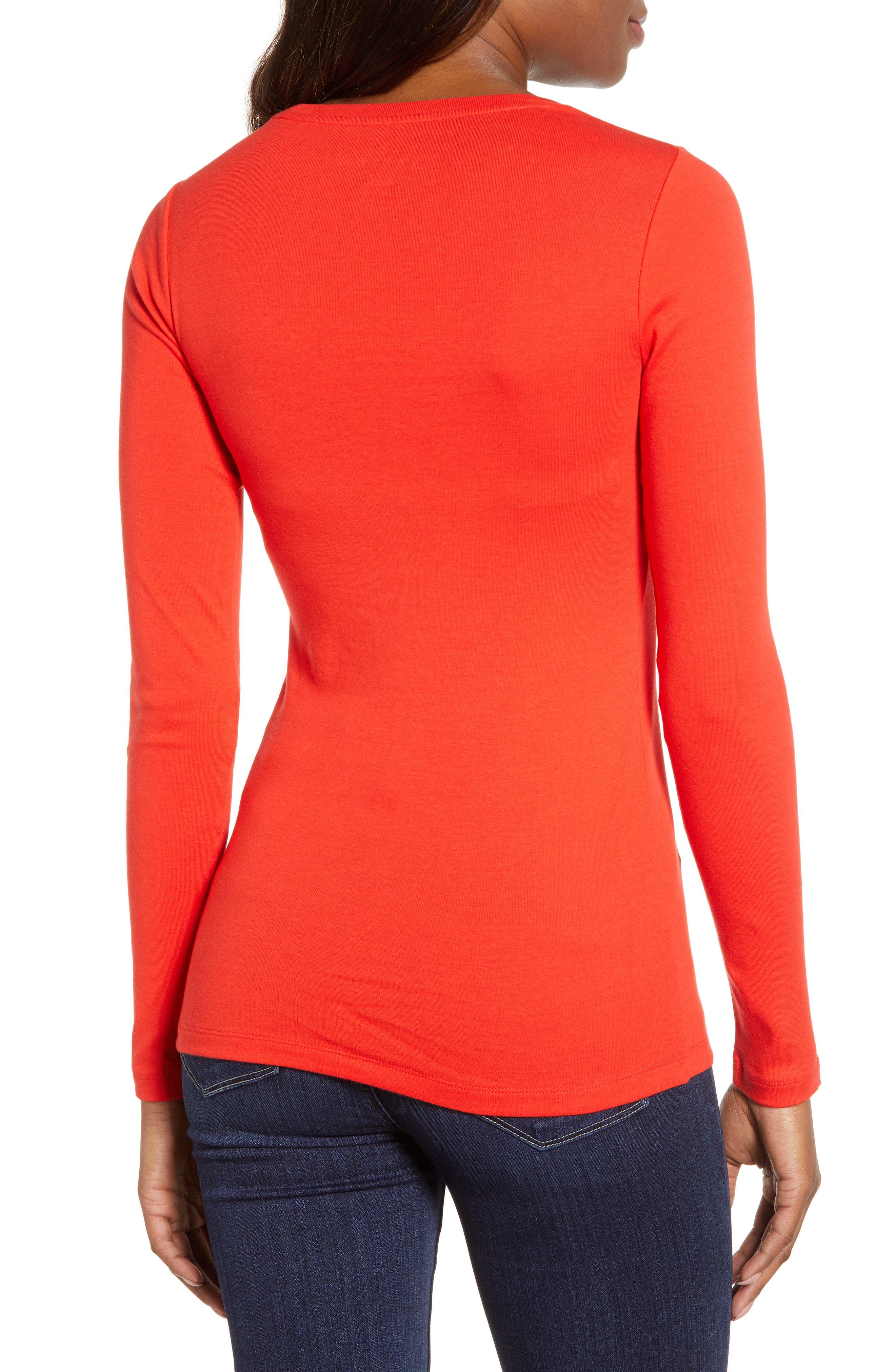 CASLON<SUP>®</SUP>, Long Sleeve Scoop Neck Cotton Tee, Alternate thumbnail 2, color, RED SCARLET