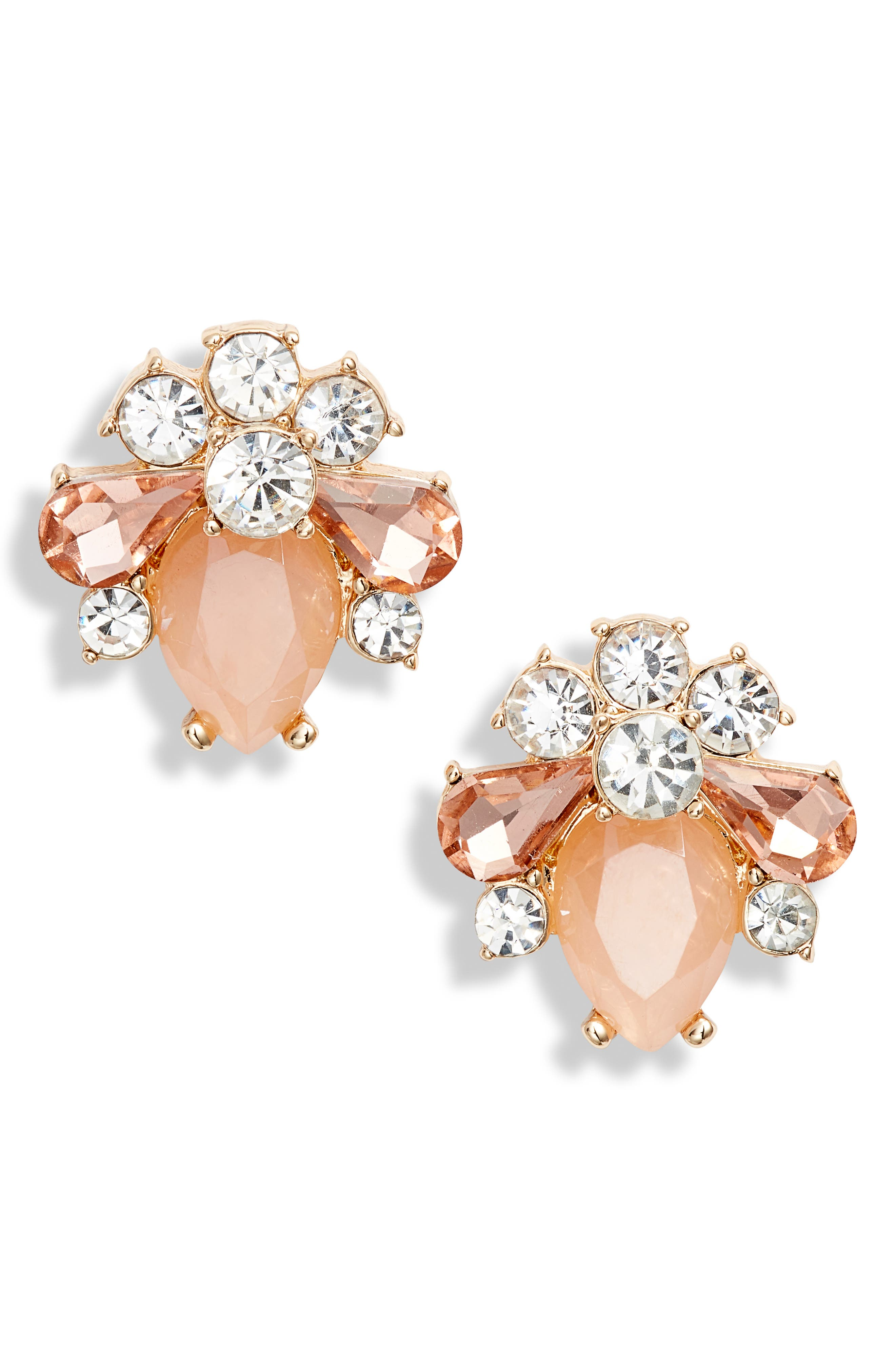 RACHEL PARCELL, Cluster Button Stud Earrings, Main thumbnail 1, color, PINK PEARL- GOLD