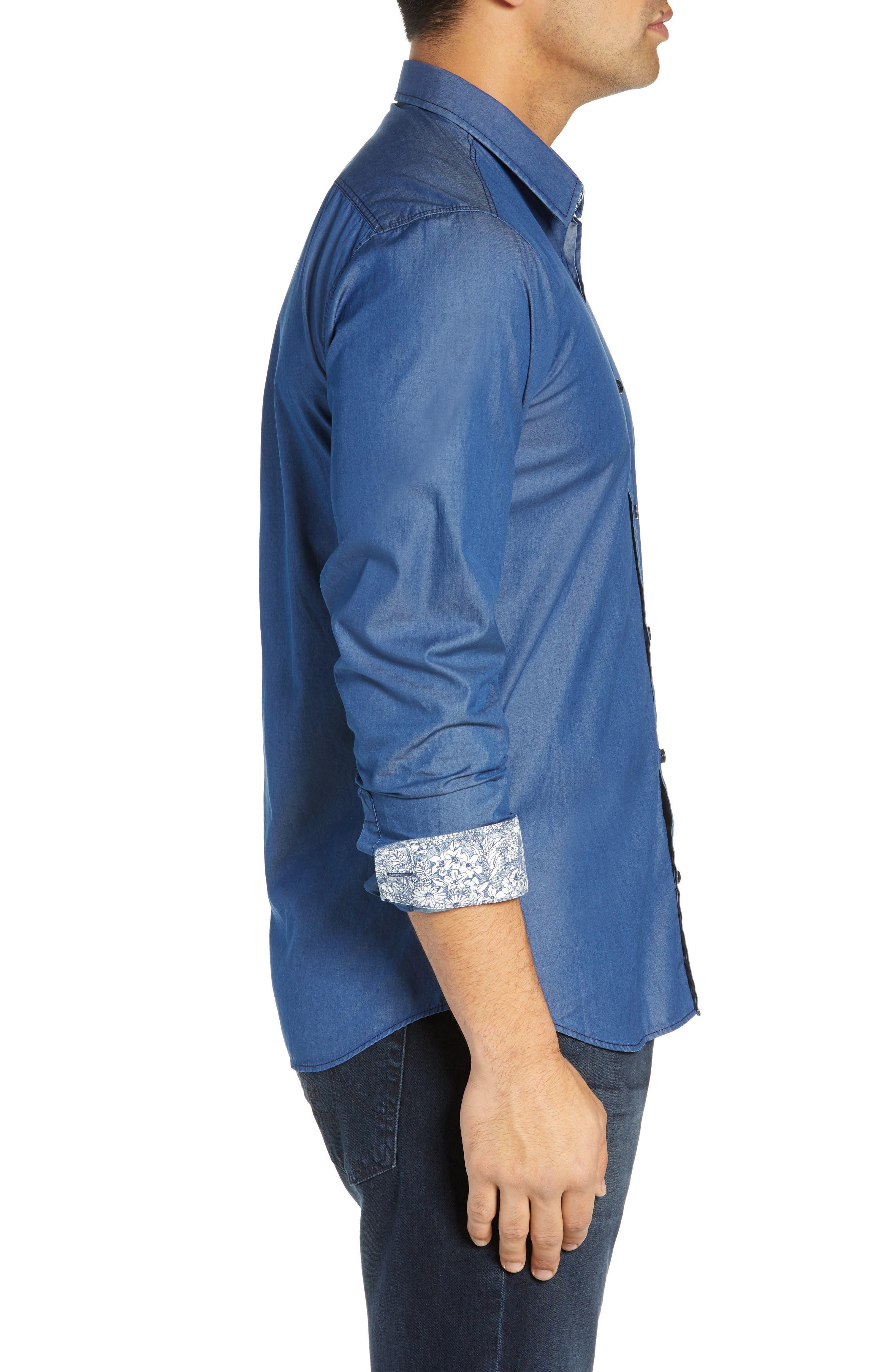 JARED LANG, Slim Fit Chambray Sport Shirt, Alternate thumbnail 4, color, CHAMBRAY