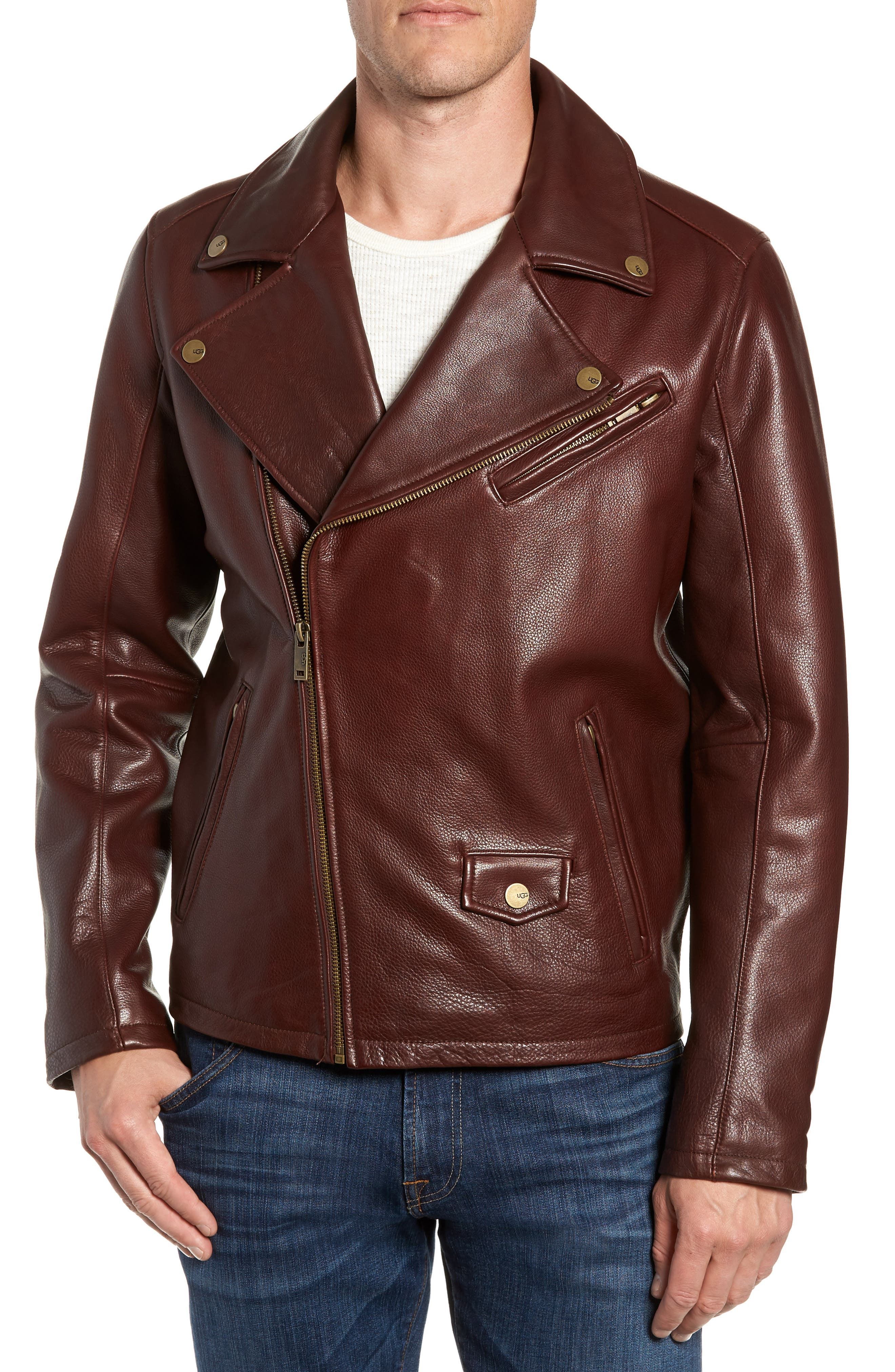 UGG<SUP>®</SUP>, Leather Moto Jacket, Main thumbnail 1, color, DARK CHESTNUT