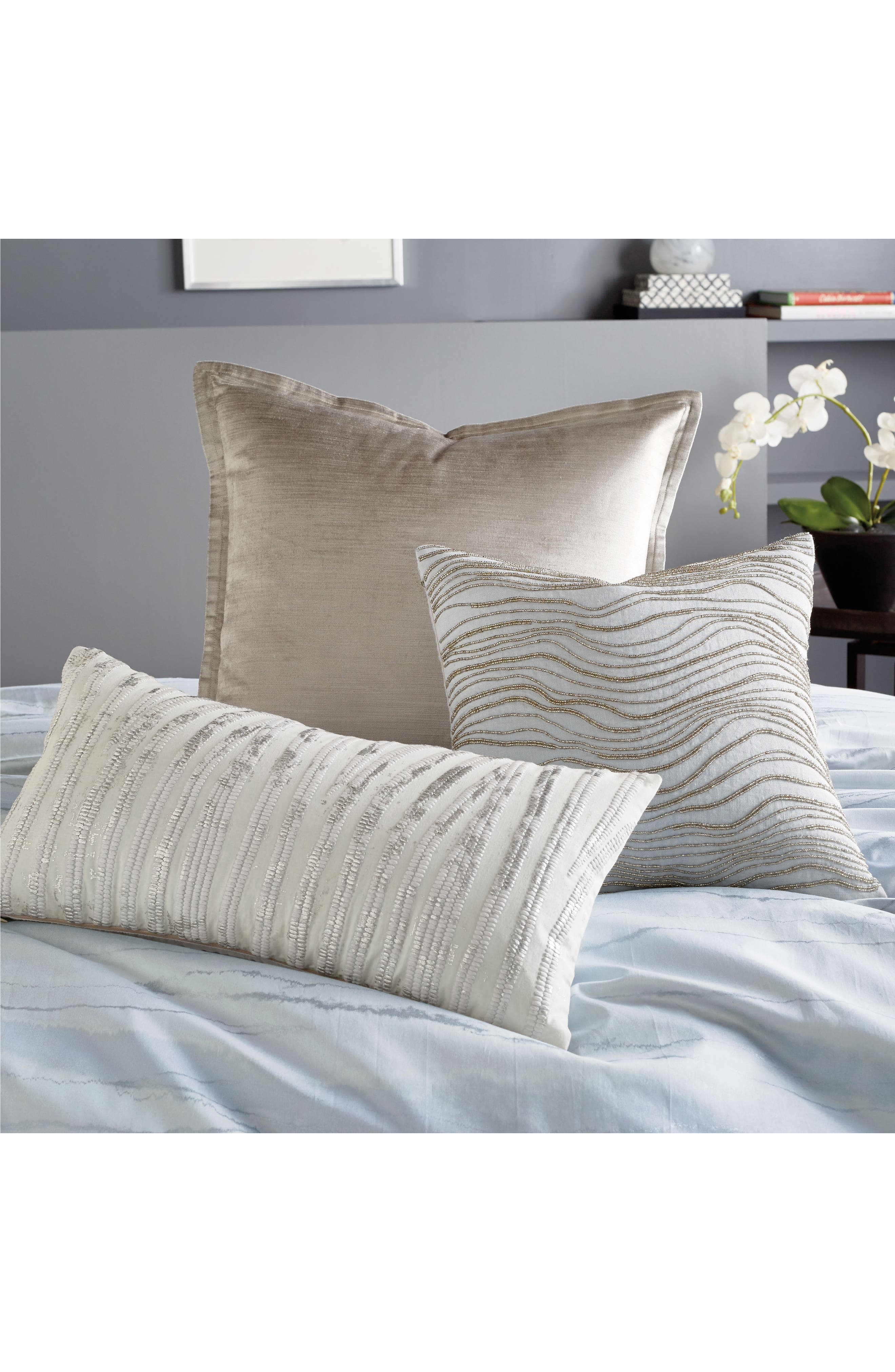 DONNA KARAN NEW YORK, Collection Velvet Accent Pillow, Alternate thumbnail 3, color, SILVER