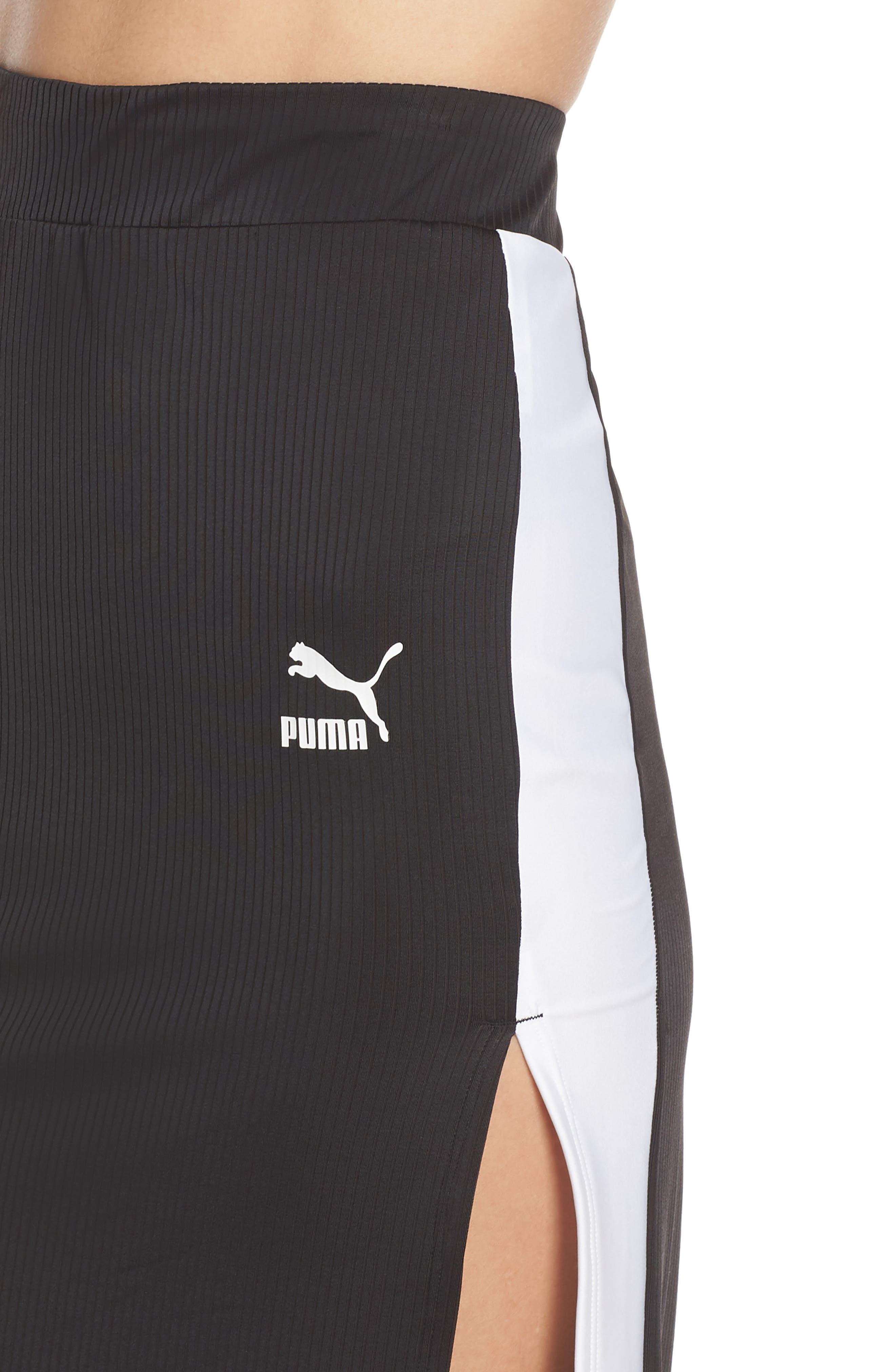 PUMA, Classics Ribbed Skirt, Alternate thumbnail 5, color, 001