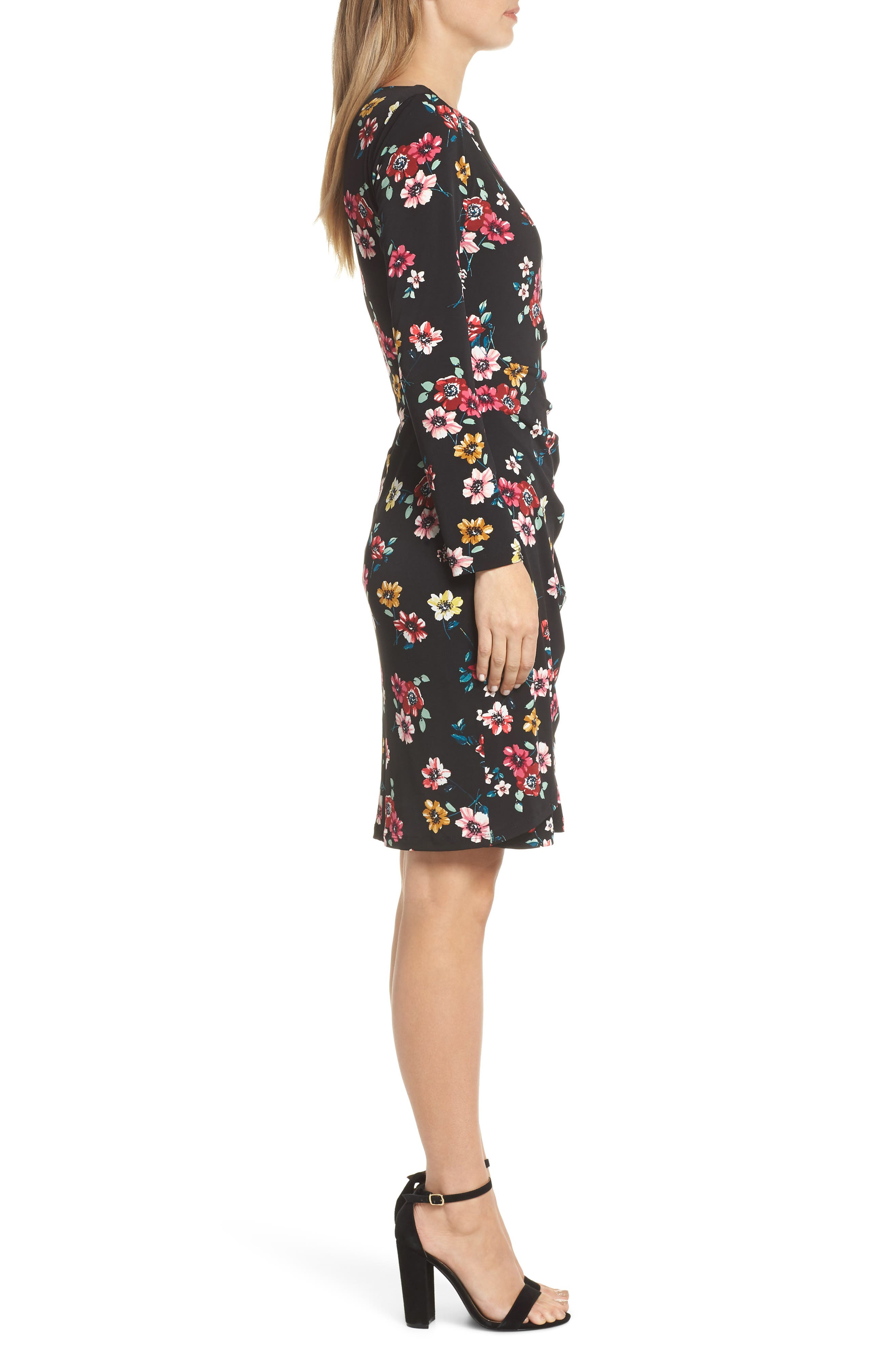 ELIZA J, Floral Sheath Dress, Alternate thumbnail 4, color, 001