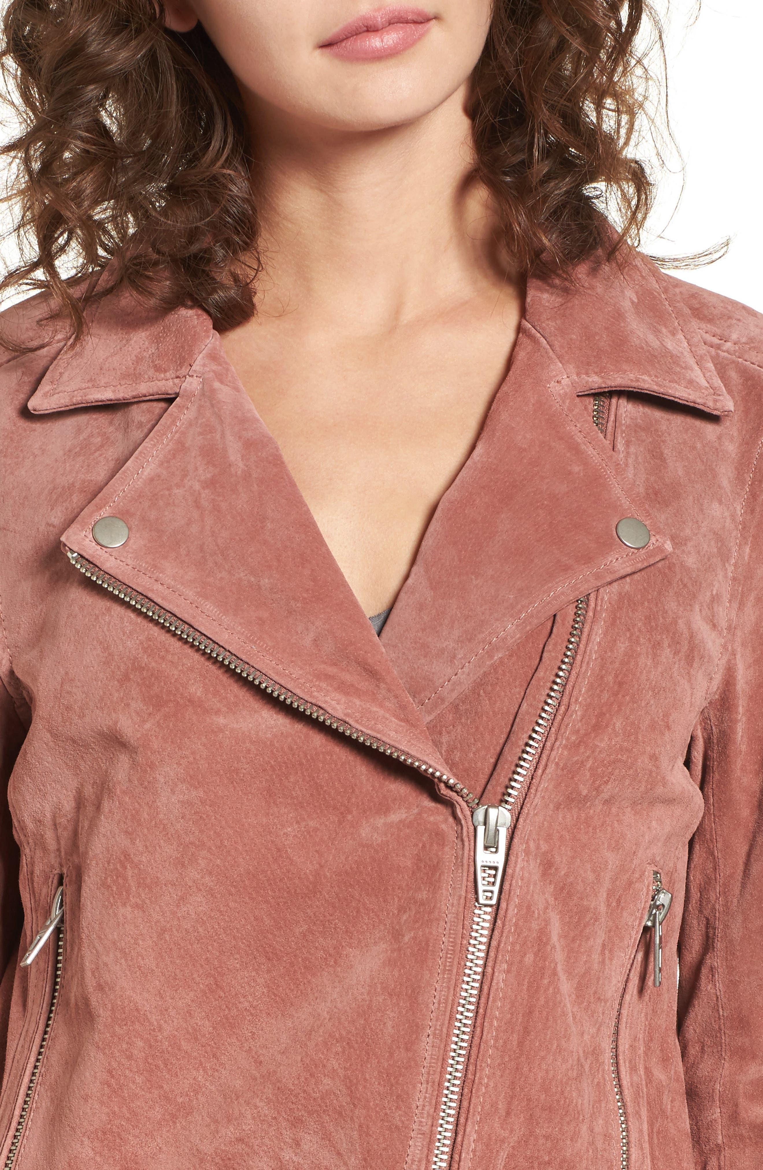 BLANKNYC, Suede Moto Jacket, Alternate thumbnail 5, color, 201
