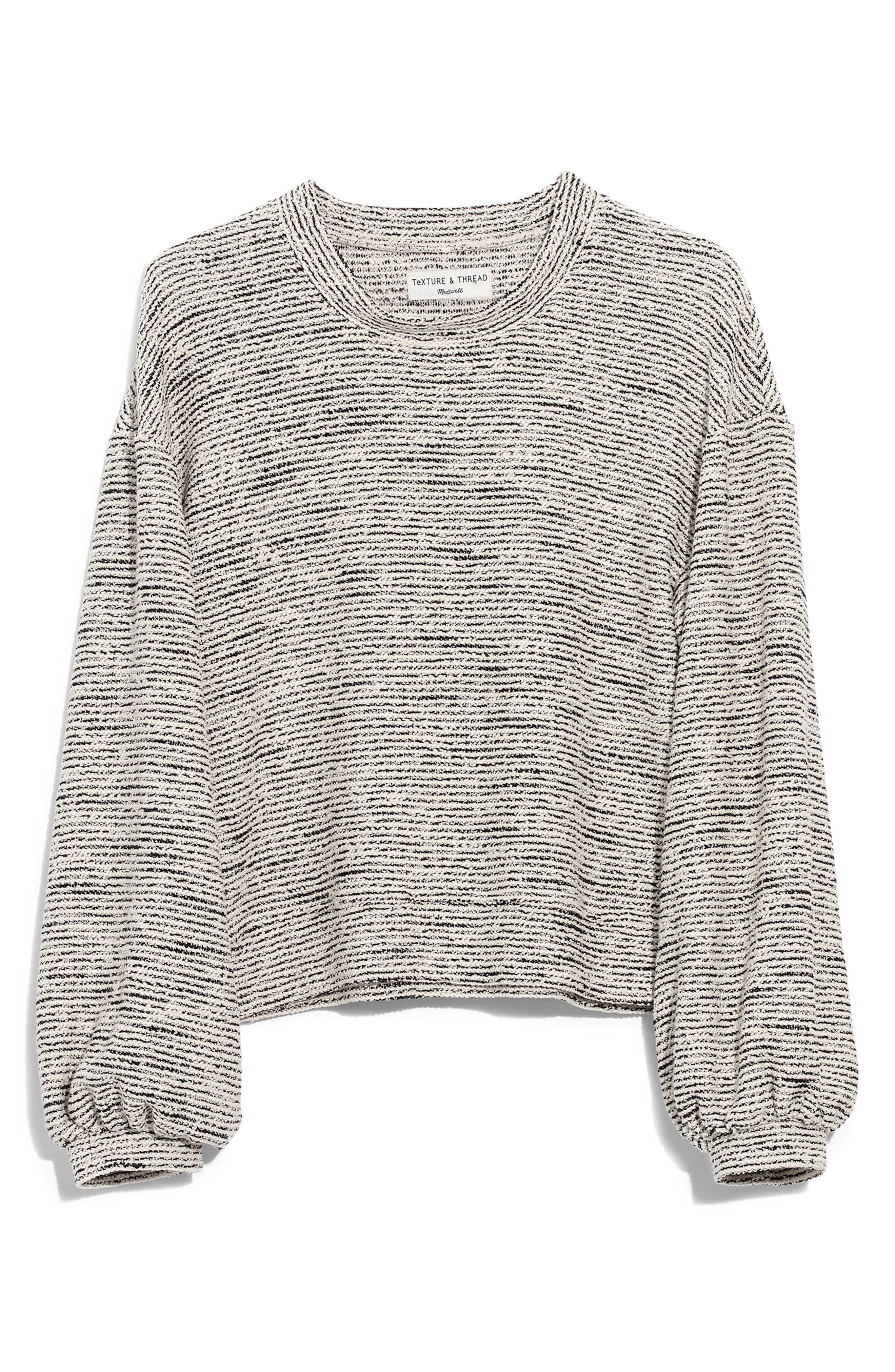 MADEWELL, Texture & Thread Bubble Sleeve Sweatshirt, Alternate thumbnail 4, color, HEATHER GREY