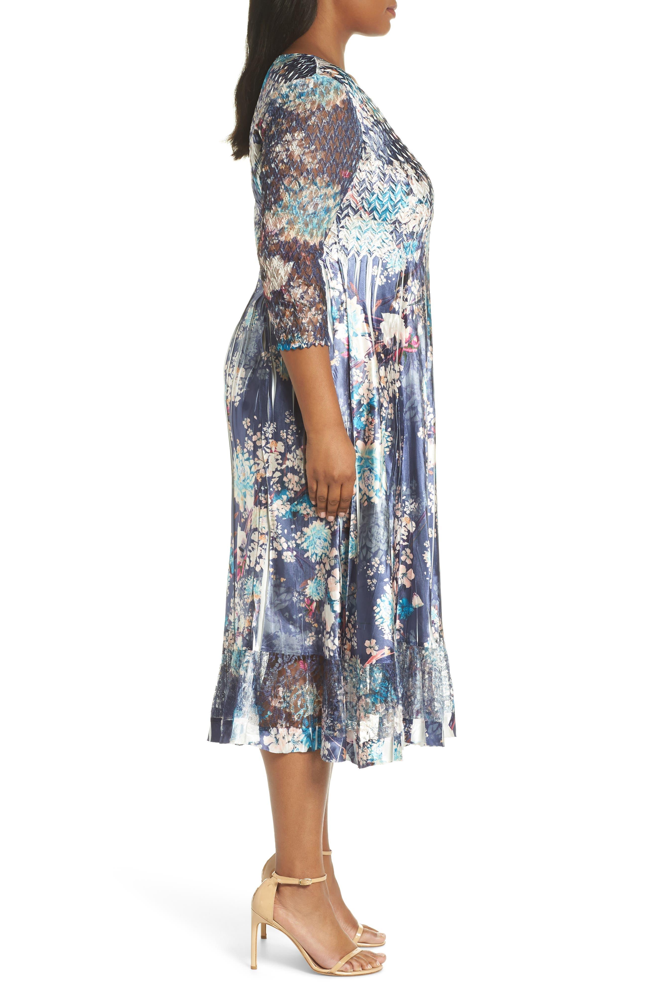 KOMAROV, Print Charmeuse & Chiffon A-Line Dress, Alternate thumbnail 4, color, CELESTIAL MEADOW